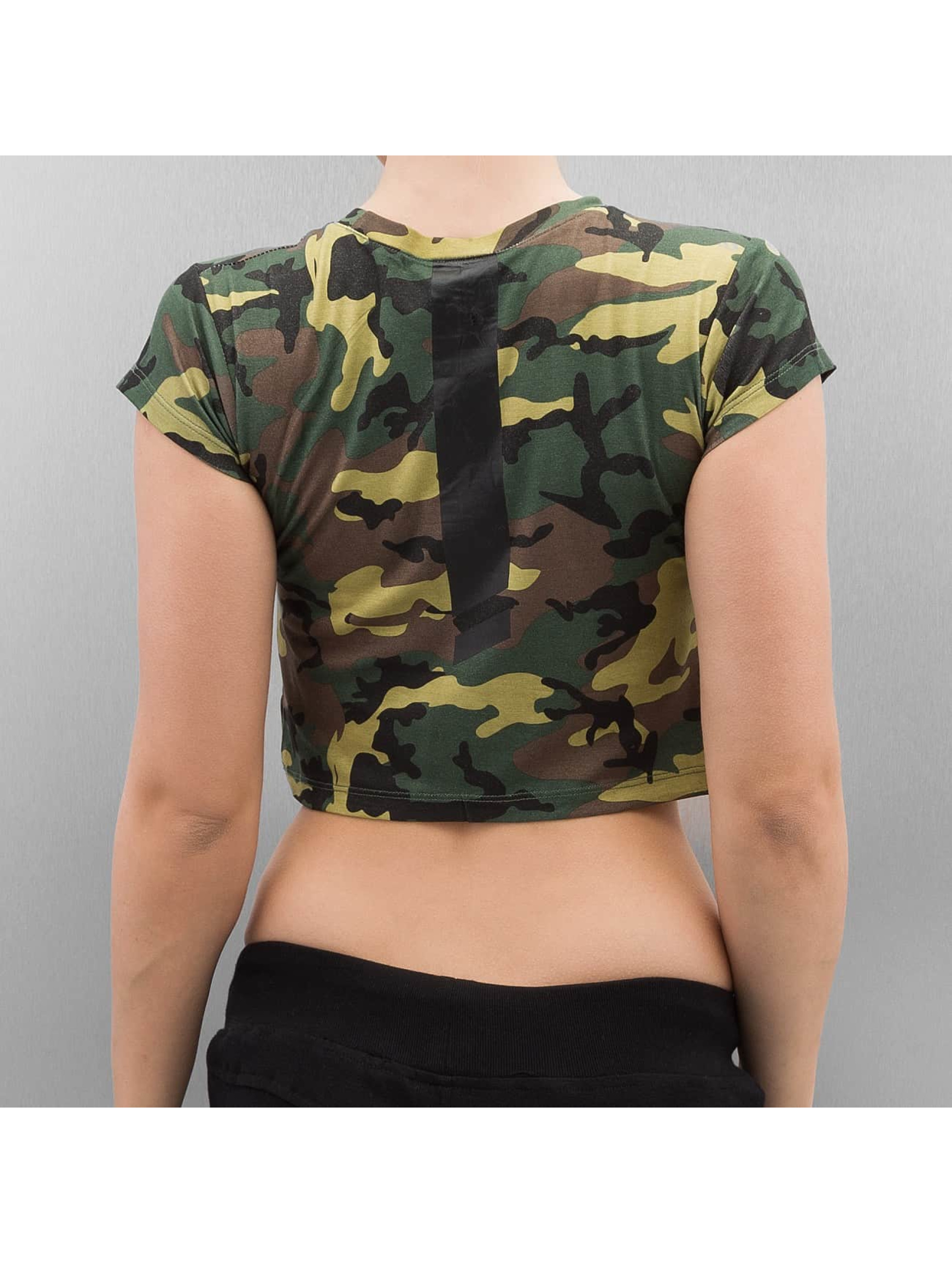sixth june damen t shirt cropped in camouflage 329930. Black Bedroom Furniture Sets. Home Design Ideas