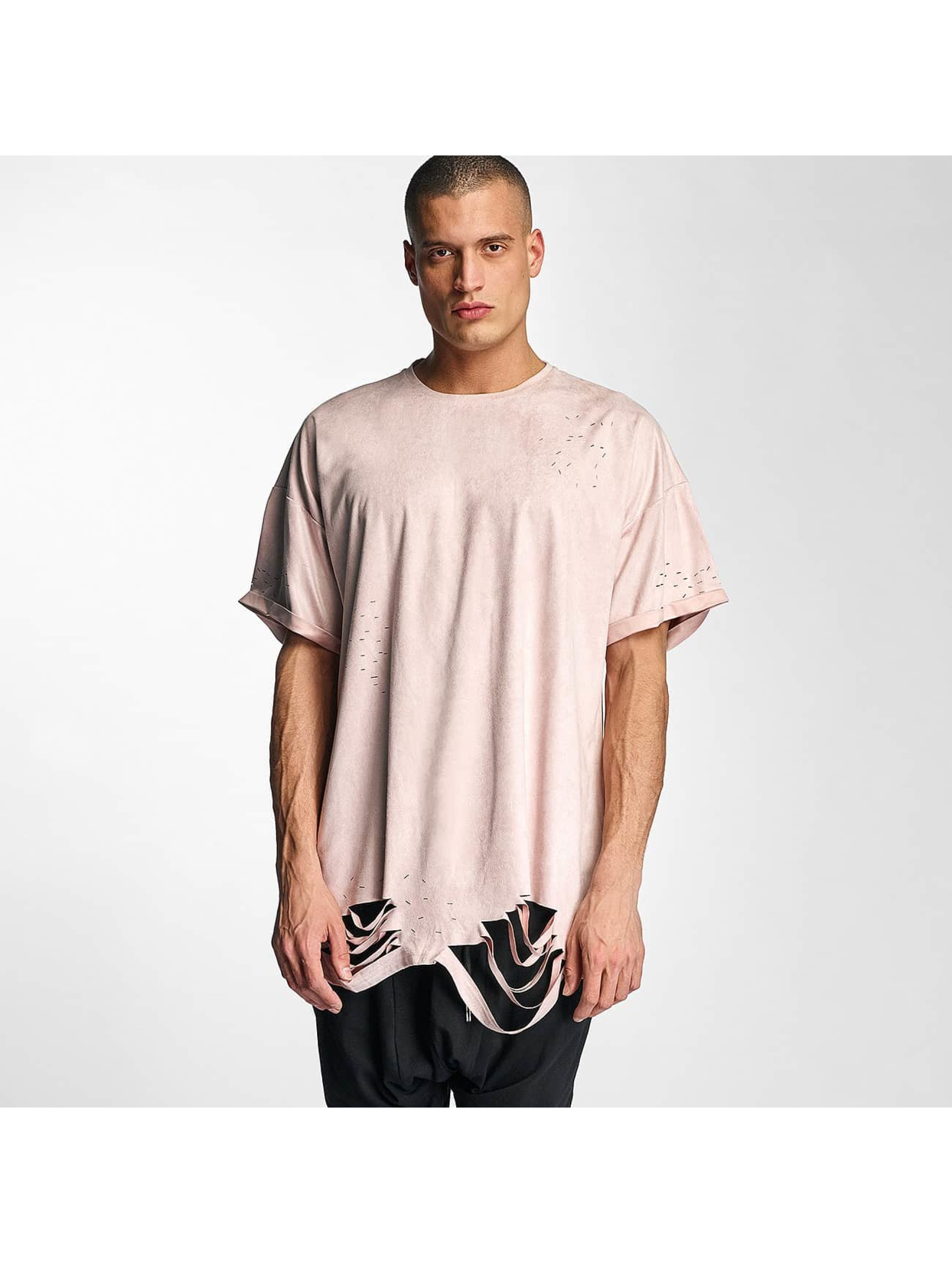 T-Shirt Destroyed Overside Suede in rosa