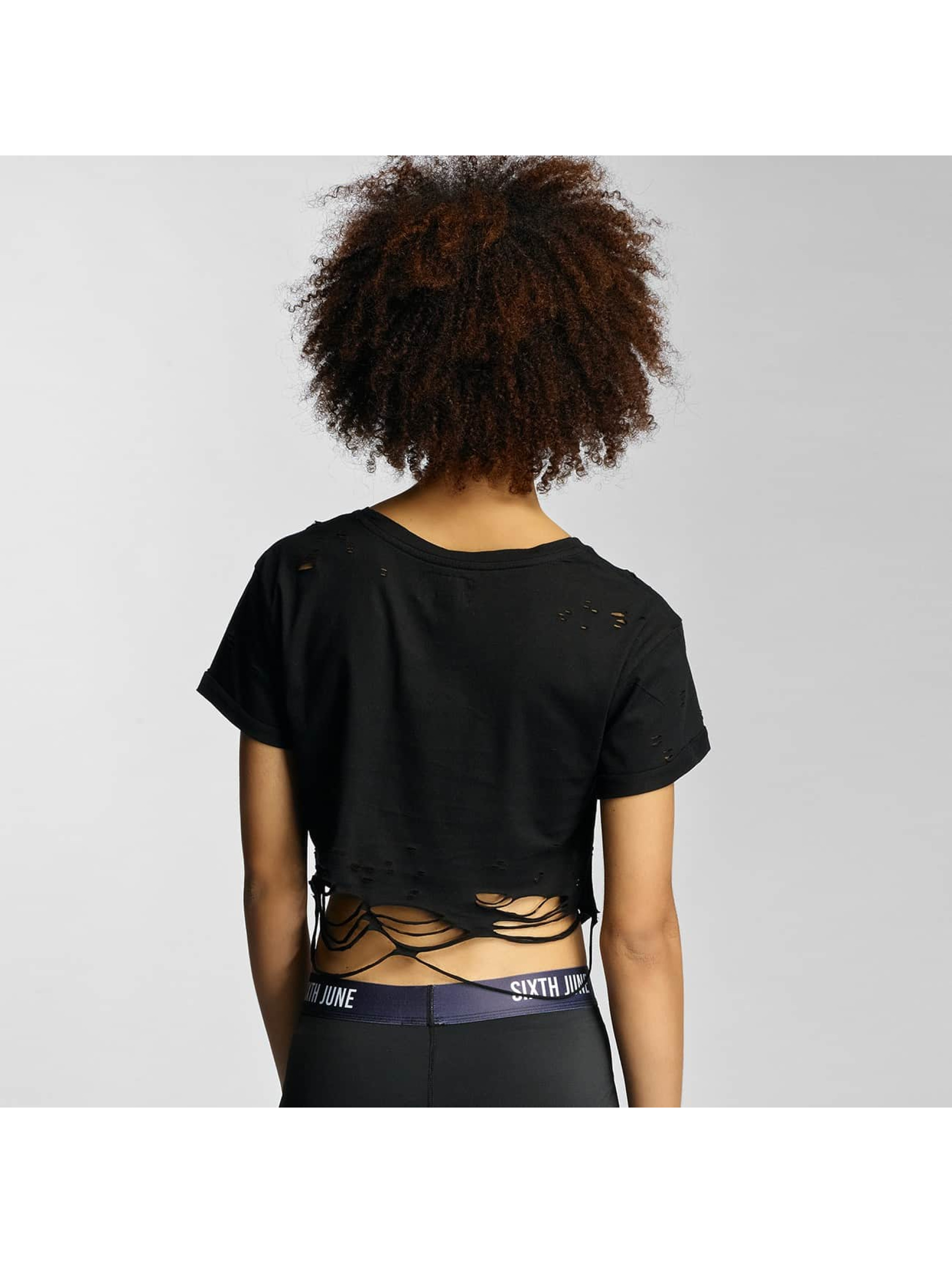 Sixth June T-Shirt Destroyed Cropped Logo schwarz