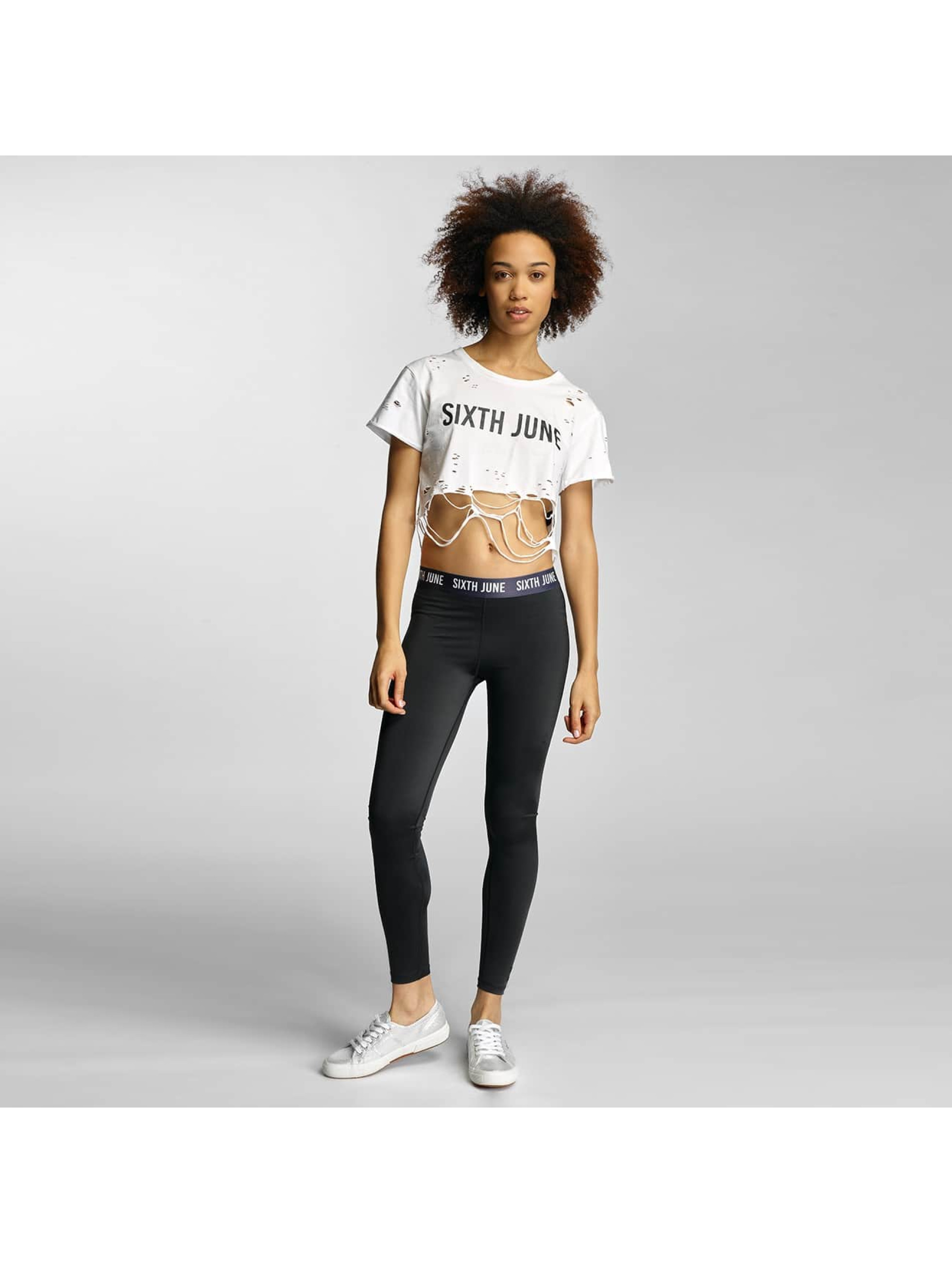 Sixth June T-Shirt Destroyed Cropped Logo white