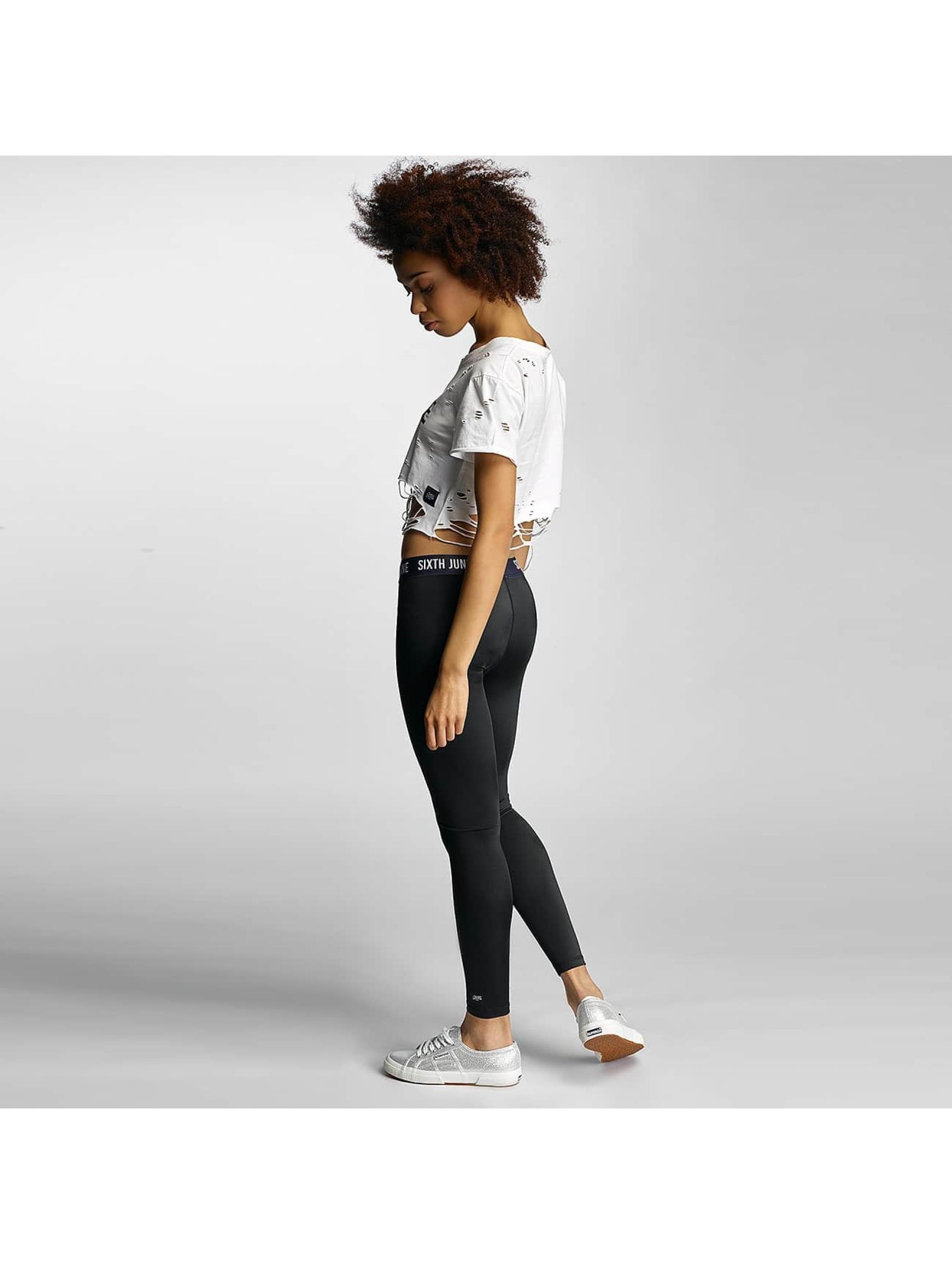 Sixth June T-skjorter Destroyed Cropped Logo hvit