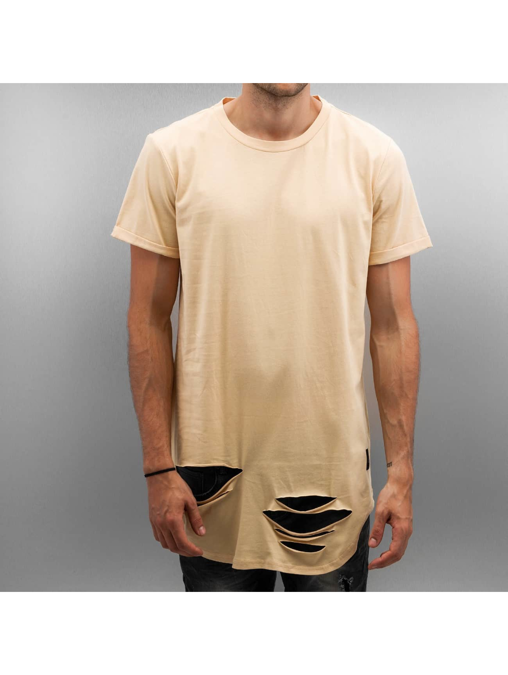 Tall Tees Destroyed Rounded Bottom in beige