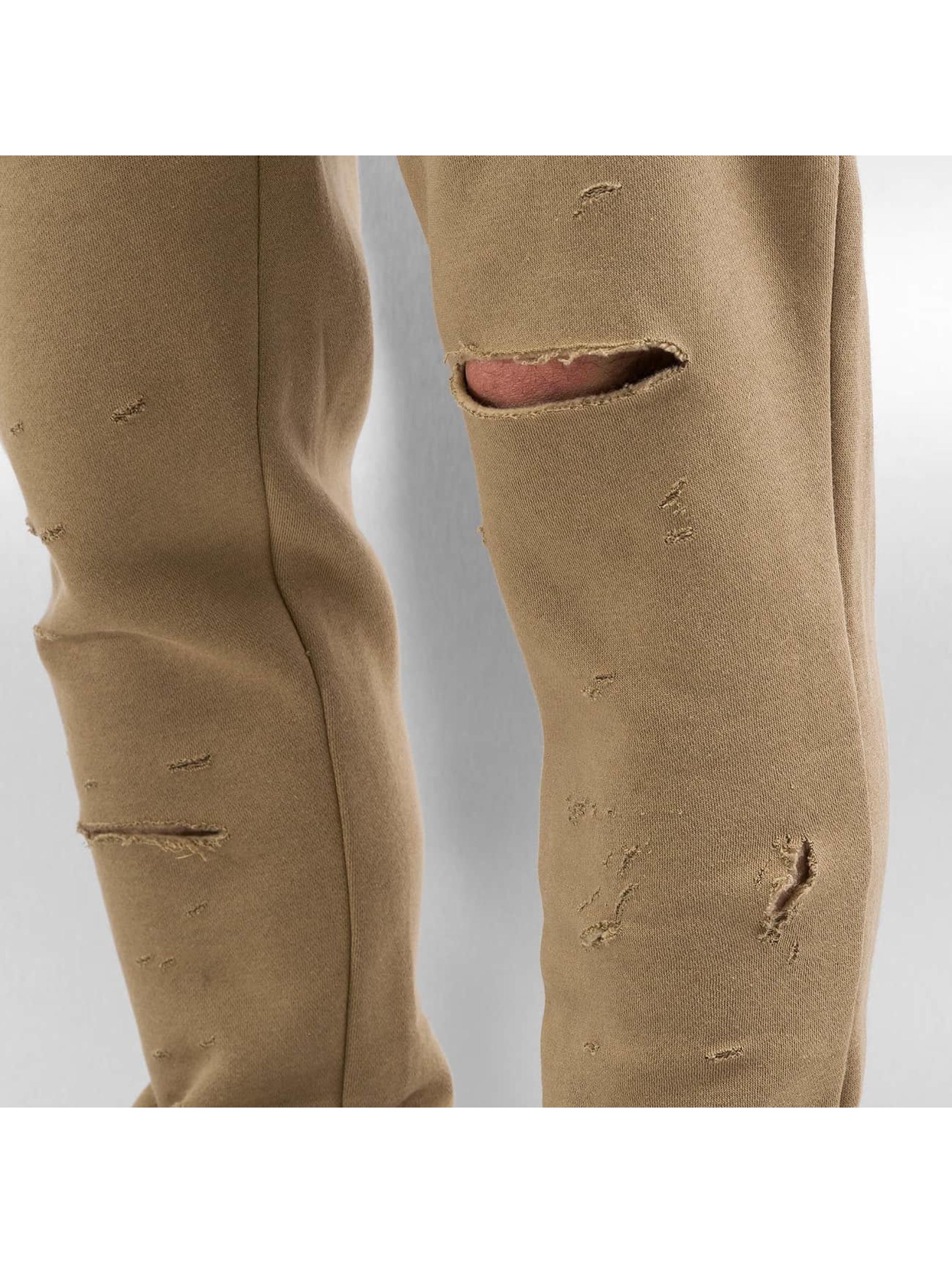 Sixth June Verryttelyhousut Destroyed Slim Fit beige