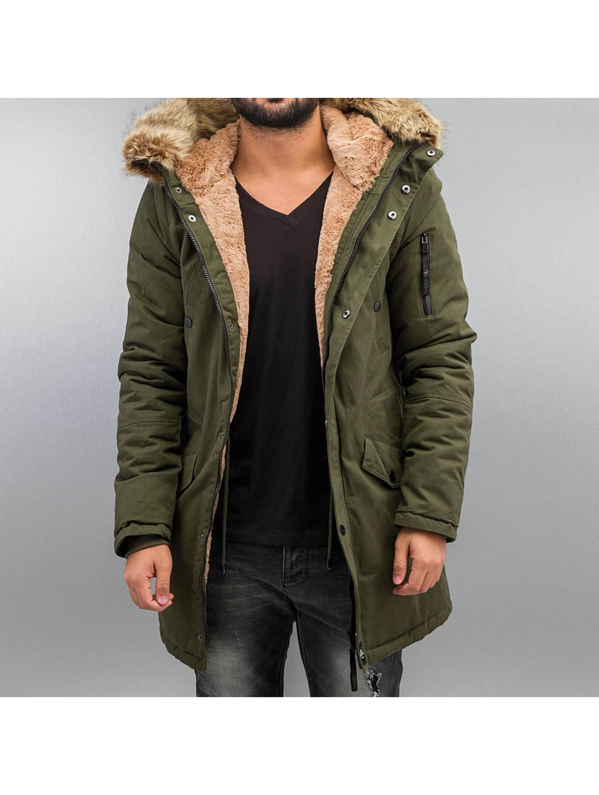 Winterjacke Fur in khaki
