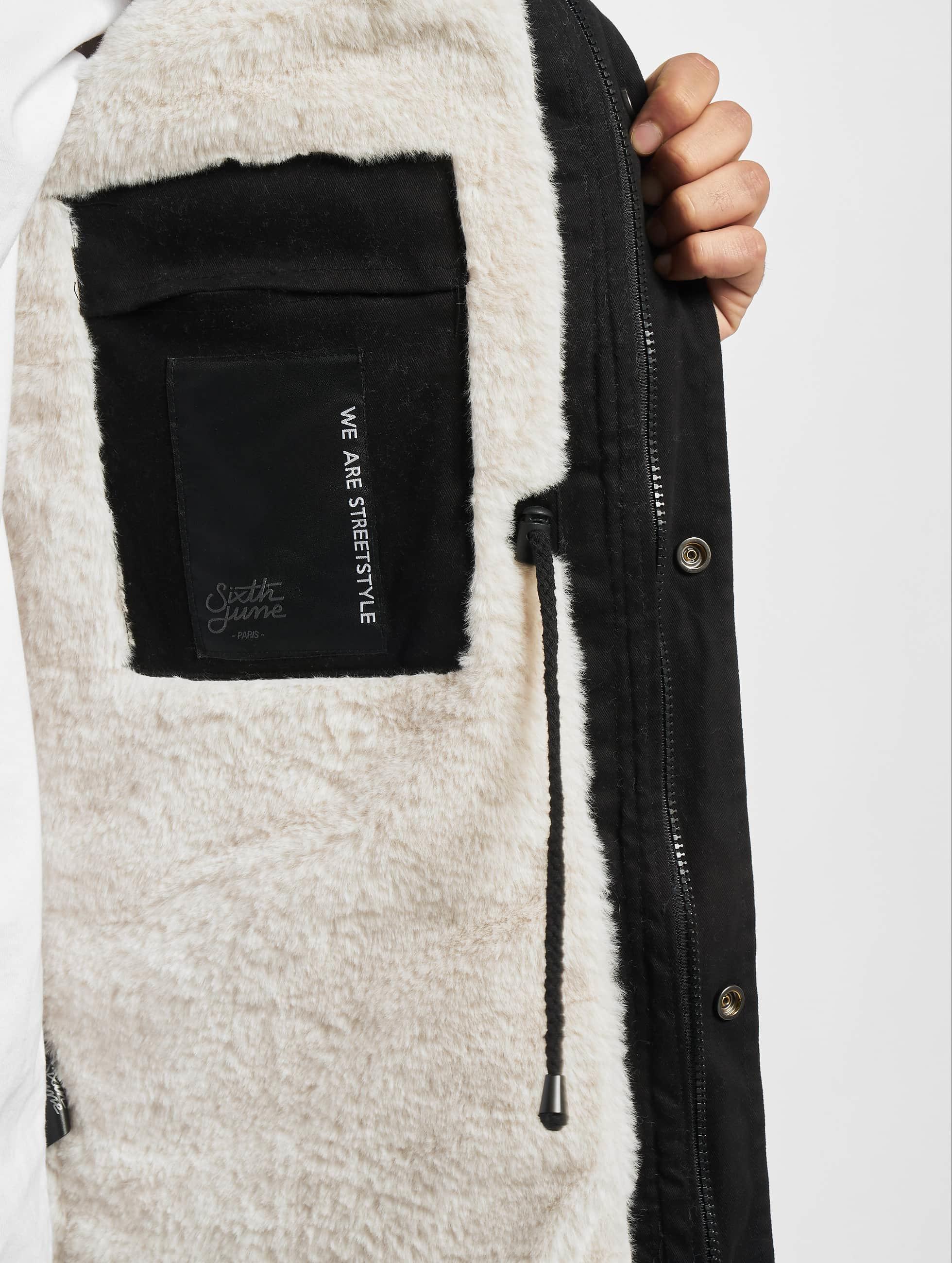 Sixth June winterjas Fur zwart