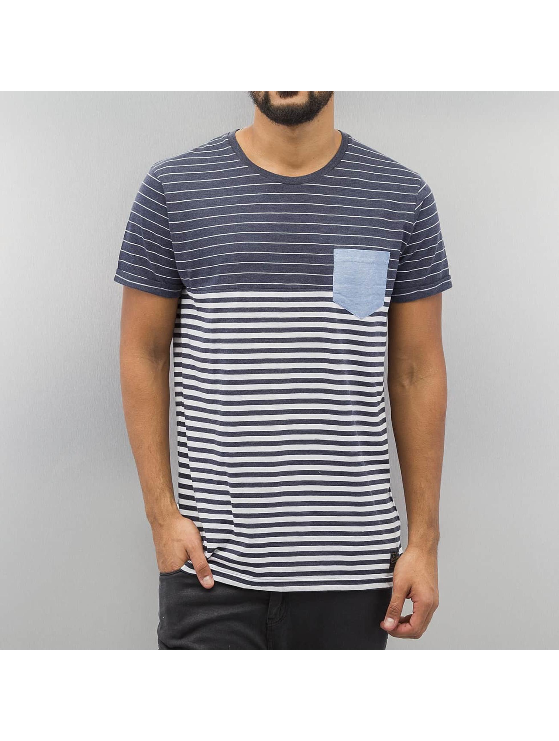 Solid t-shirt Border blauw
