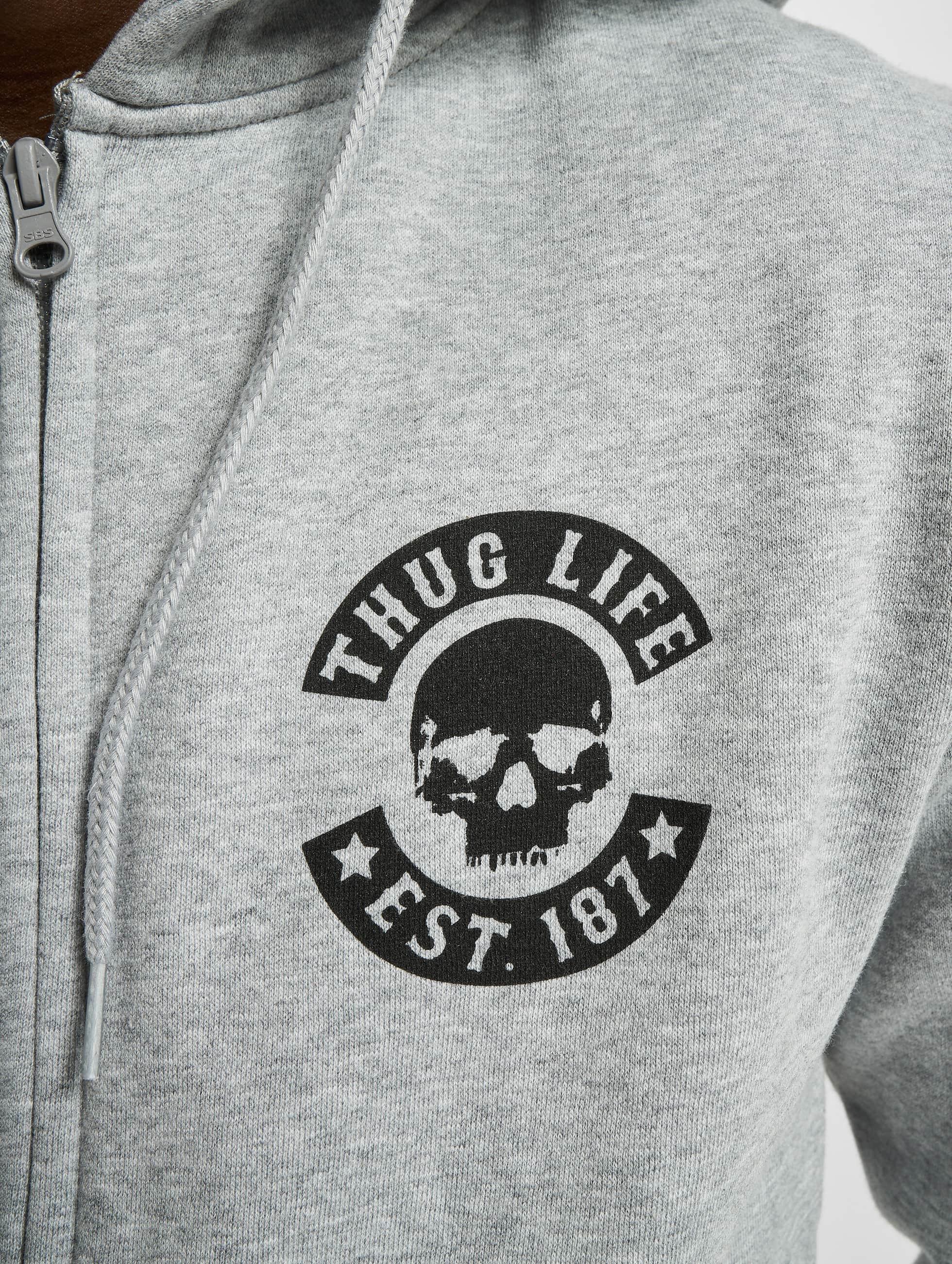 Thug Life Basic Zip Hoodie Skull gray