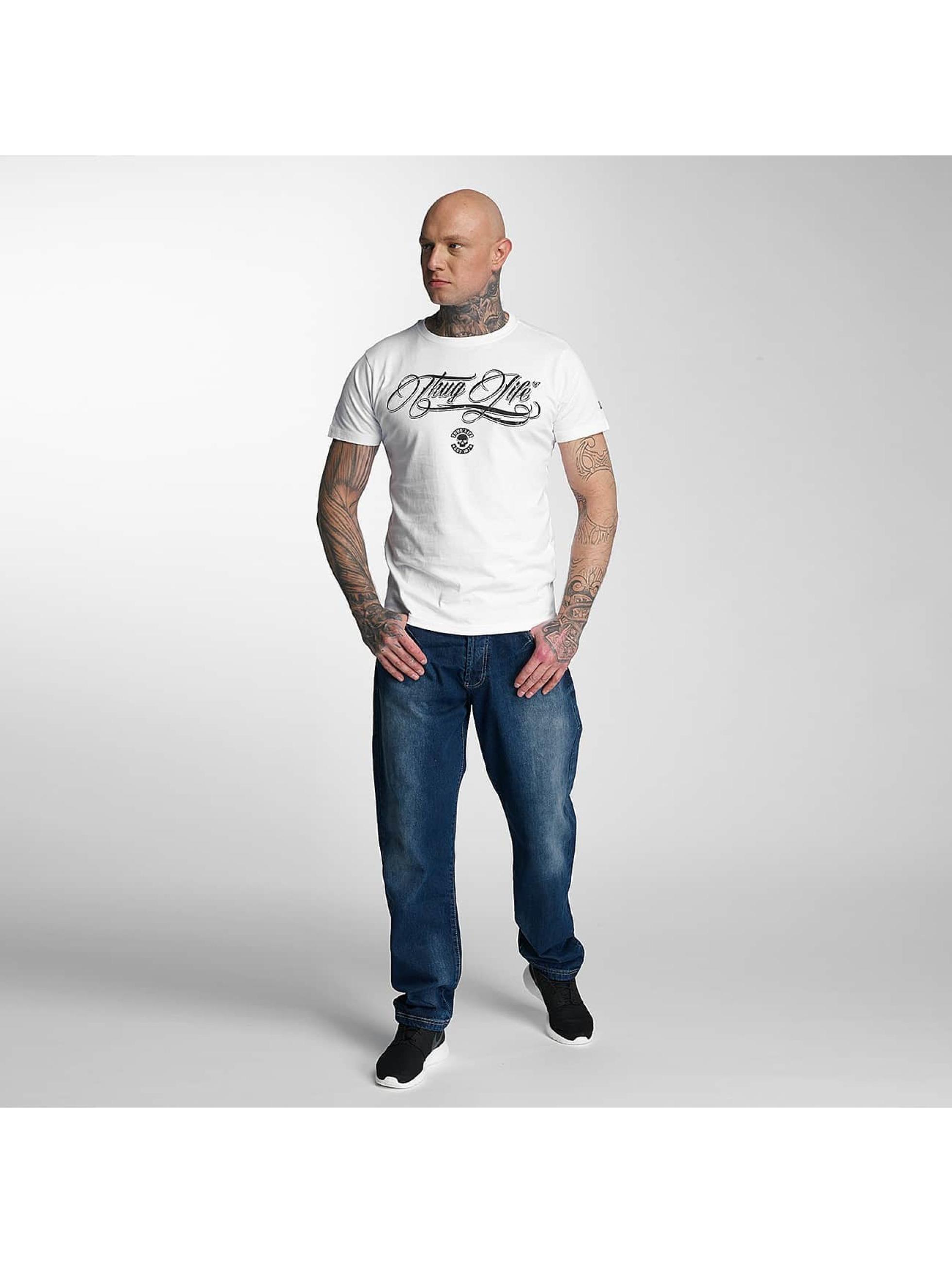Thug Life T-Shirt Kursiv weiß
