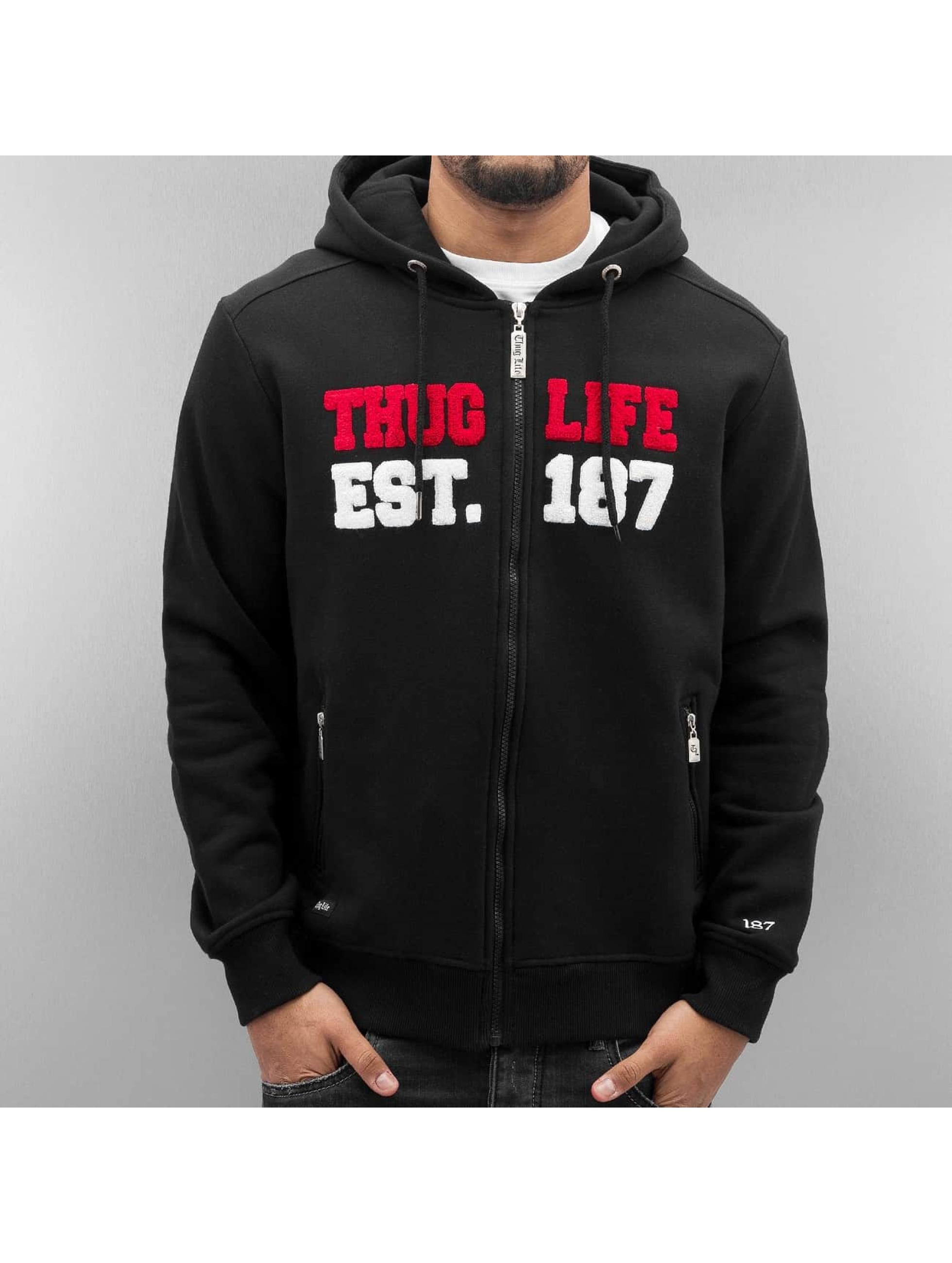 Thug Life Zip Hoodie Est 187 èierna