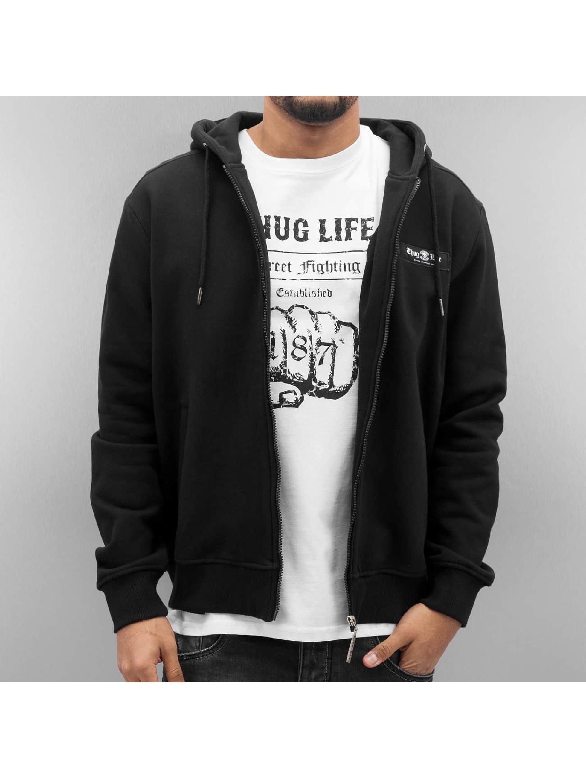 Thug Life Zip Hoodie Angle Life svart