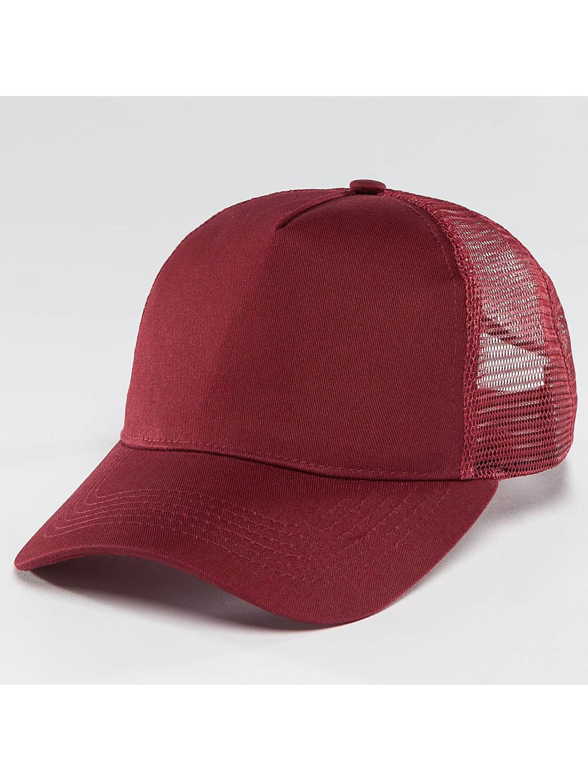 TrueSpin Trucker Cap Blank Round Visor rosso