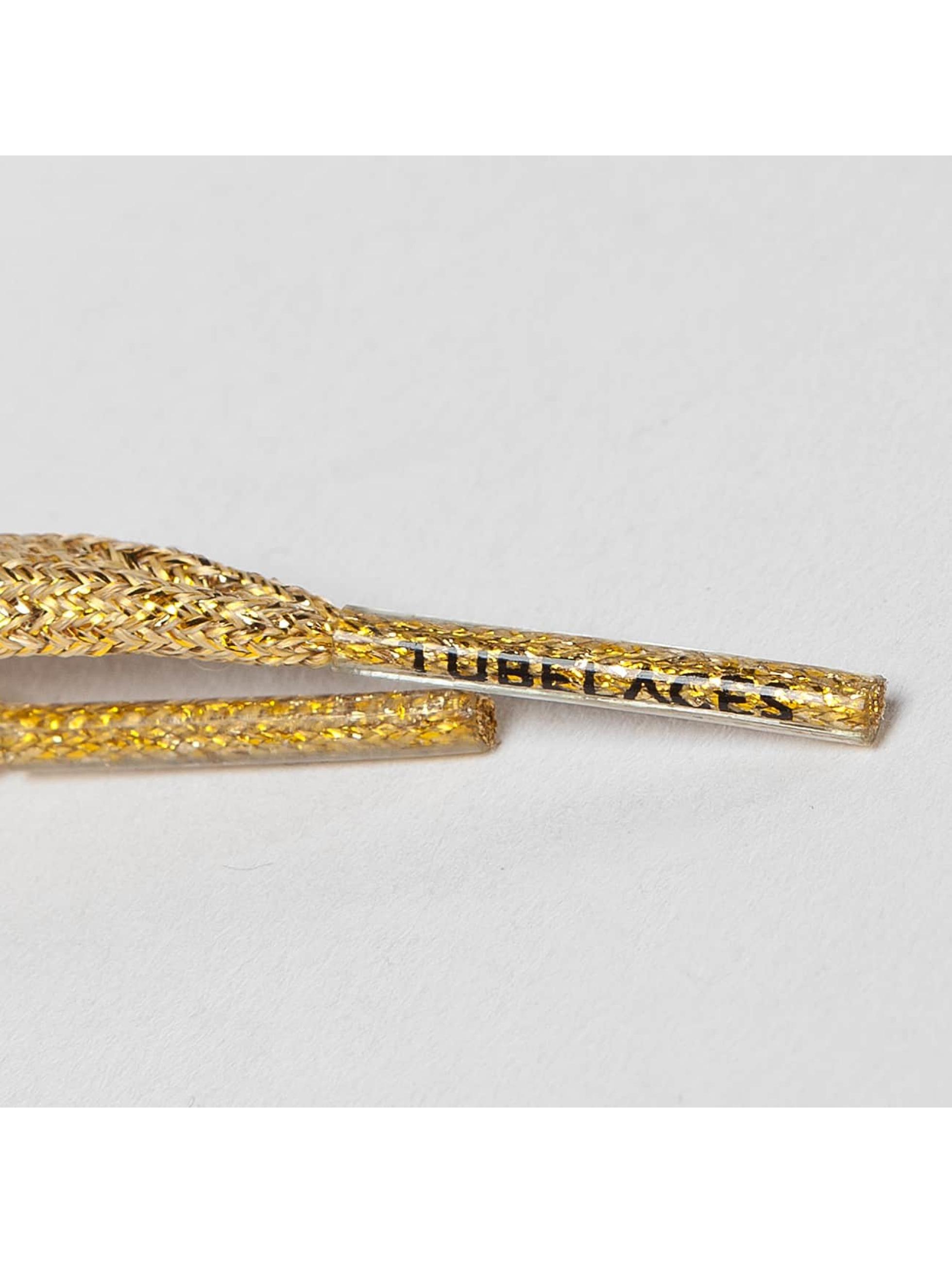 Tubelaces Snørrebånd White Flat Glitter 130cm guld