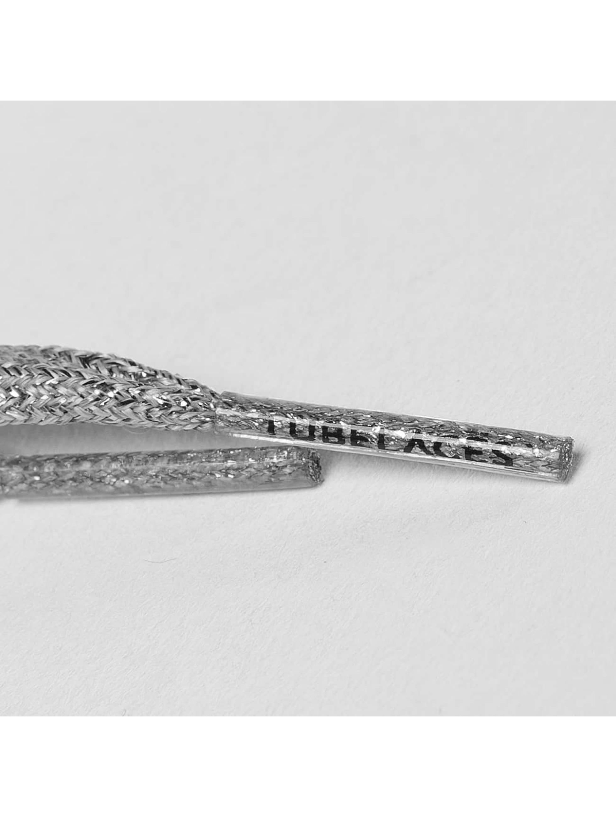 Tubelaces Snørrebånd White Flat Glitter 130cm sølv