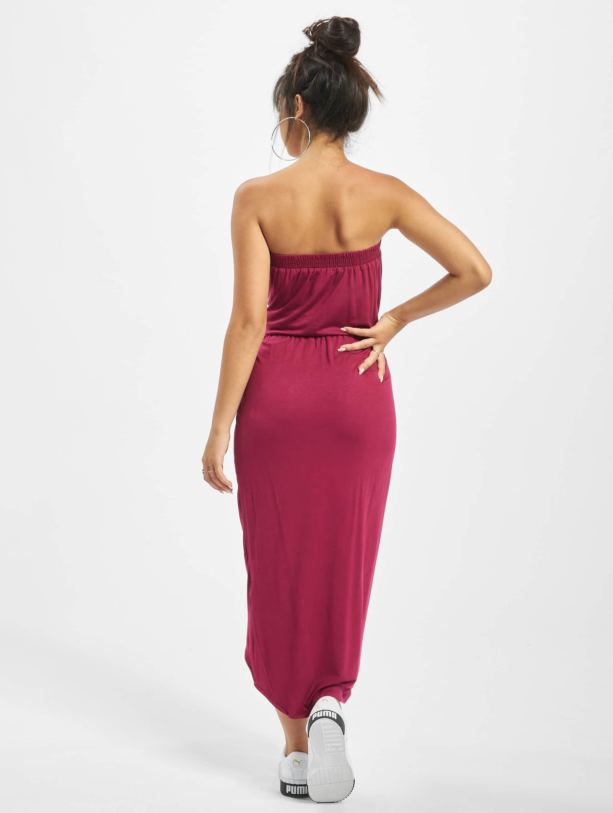 Urban Classics Šaty Ladies Viscose Bandeau èervená