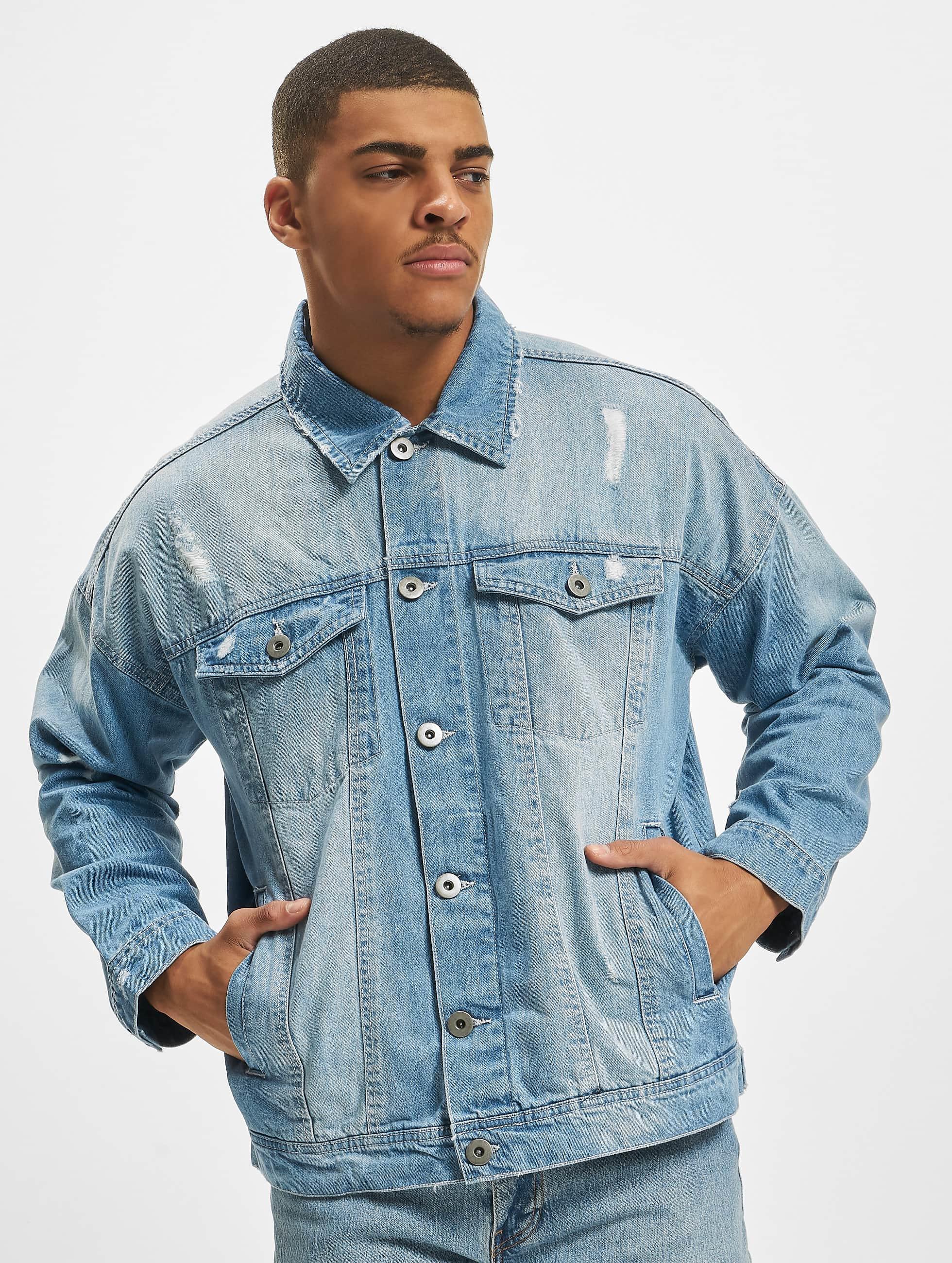 Urban Classics Демисезонная куртка Ripped Denim синий