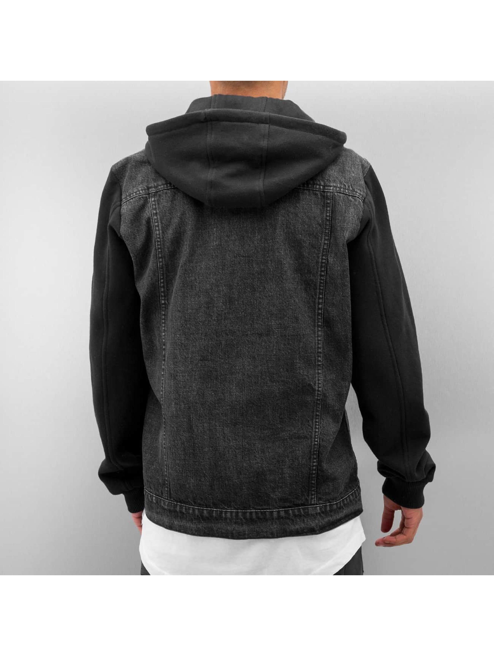 Urban Classics Демисезонная куртка Hooded Denim Fleece черный