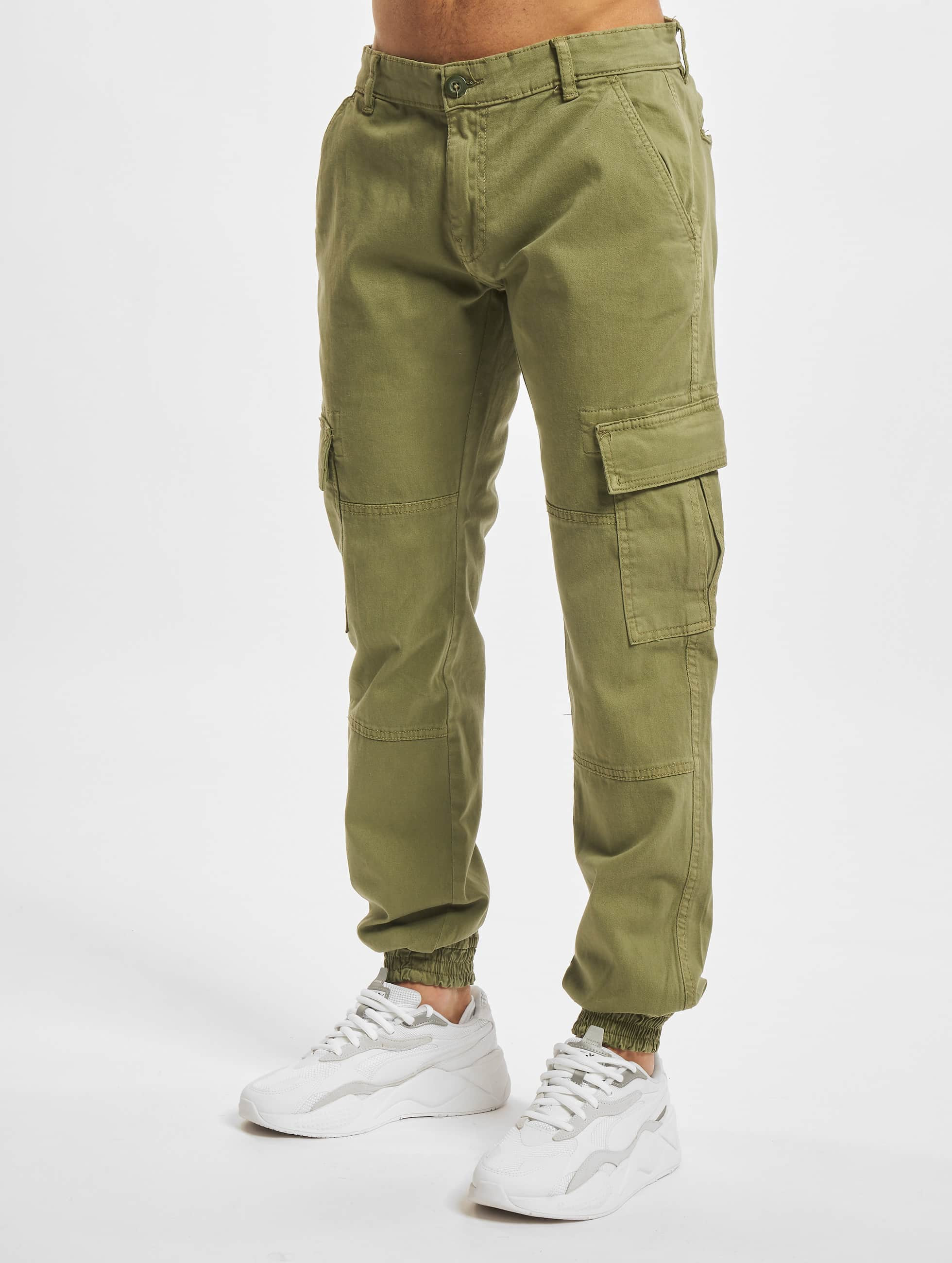 Urban Classics Карго Washed Cargo Twill Jogging оливковый