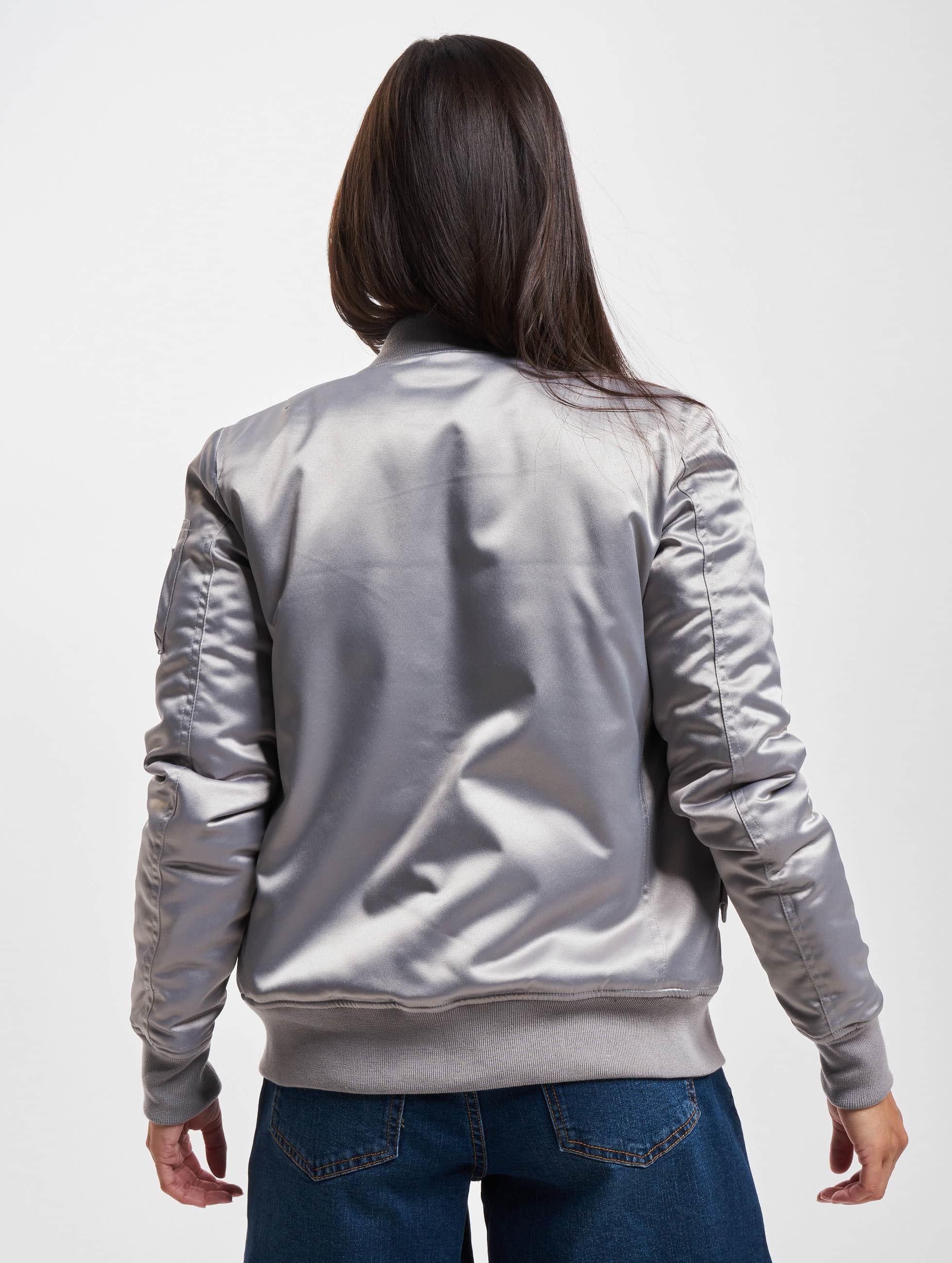 Urban Classics Куртка-бомбардир Satin Bomber серебро