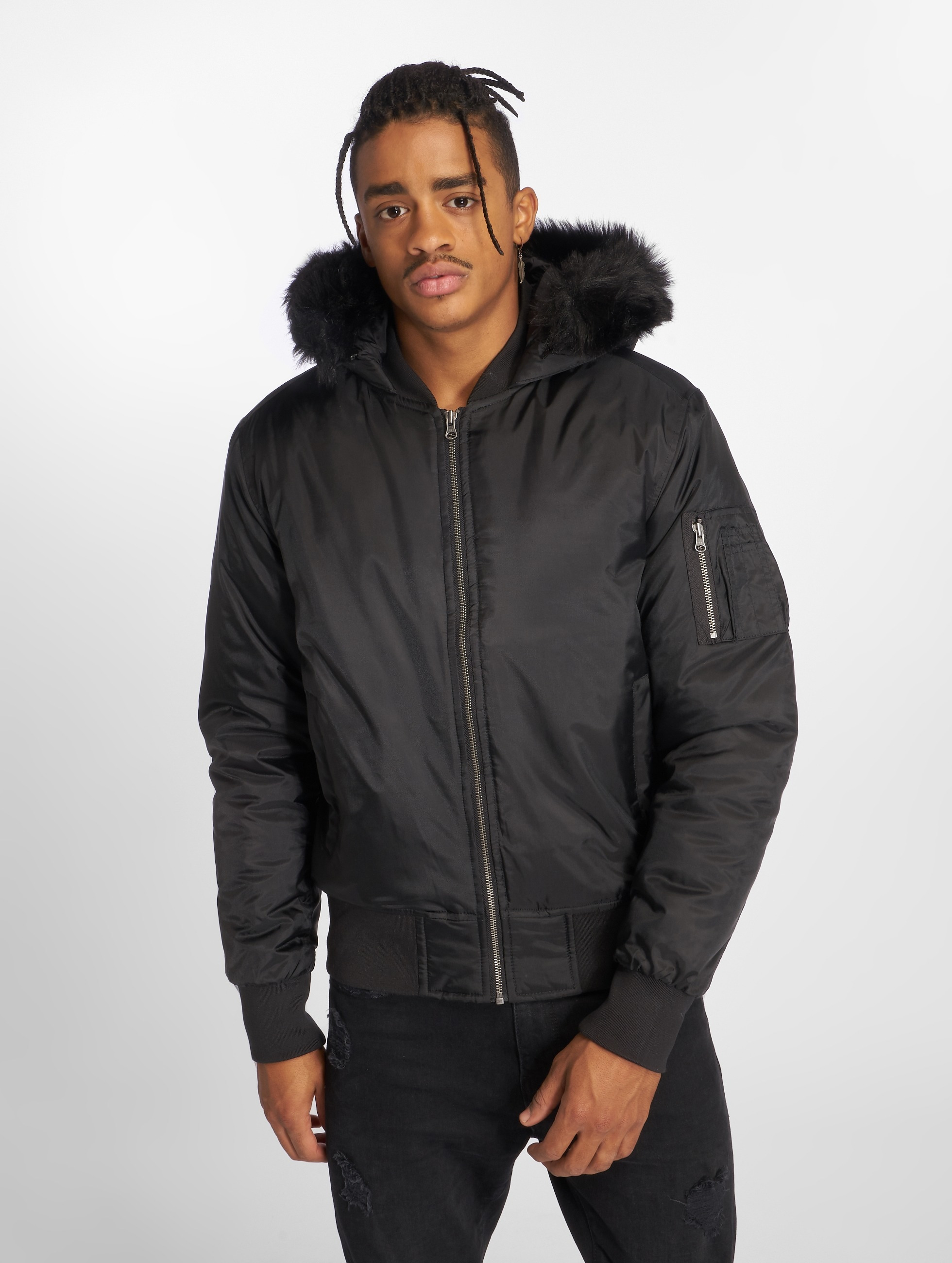 Urban Classics Куртка-бомбардир Hooded Basic черный