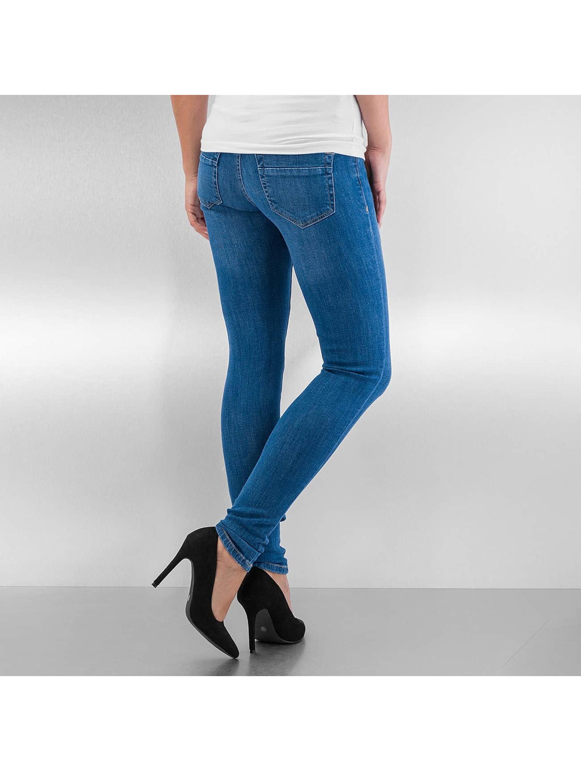Urban Classics Облегающие джинсы Ripped Denim синий