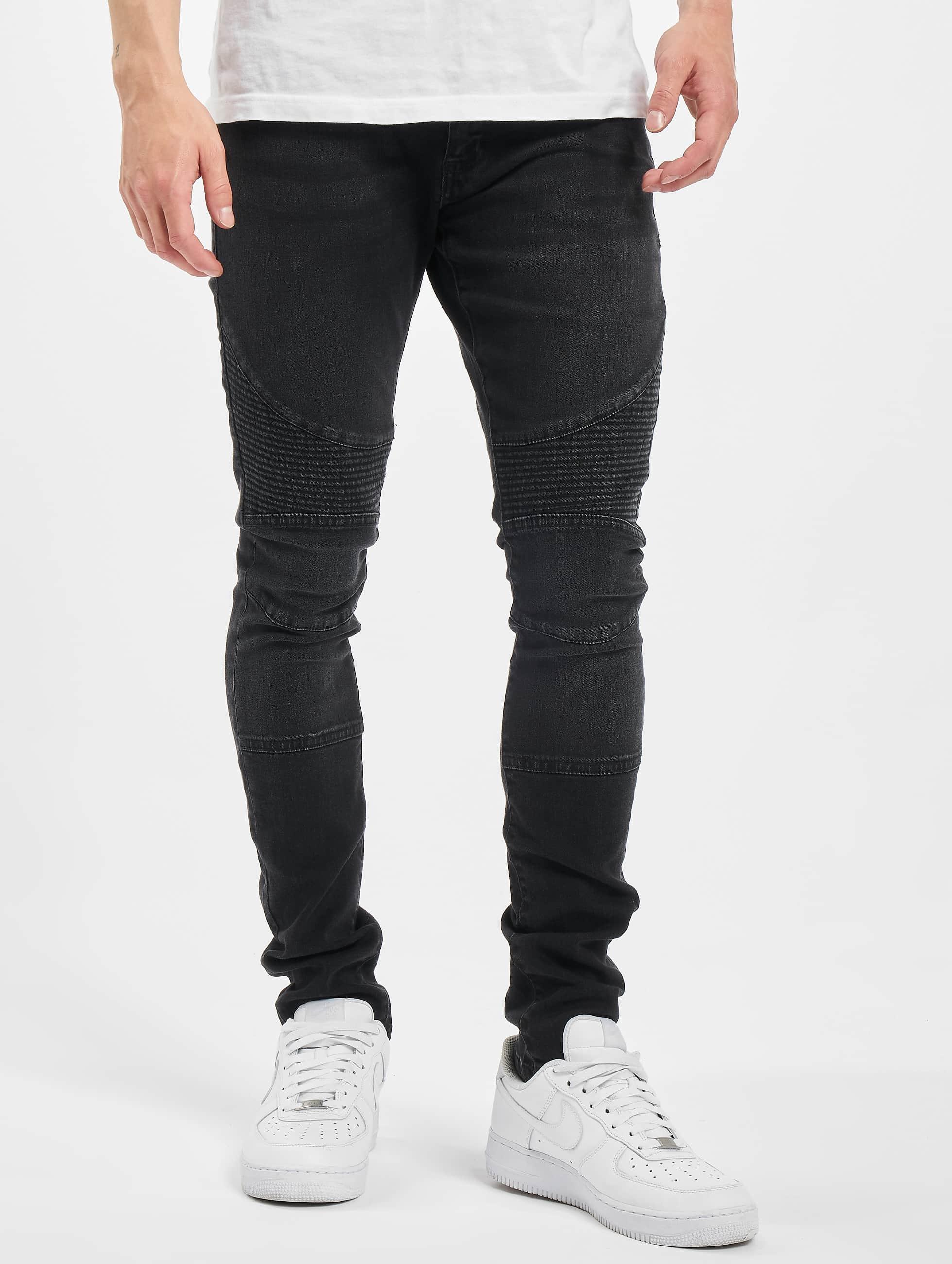 Urban Classics Облегающие джинсы Slim Fit Biker черный