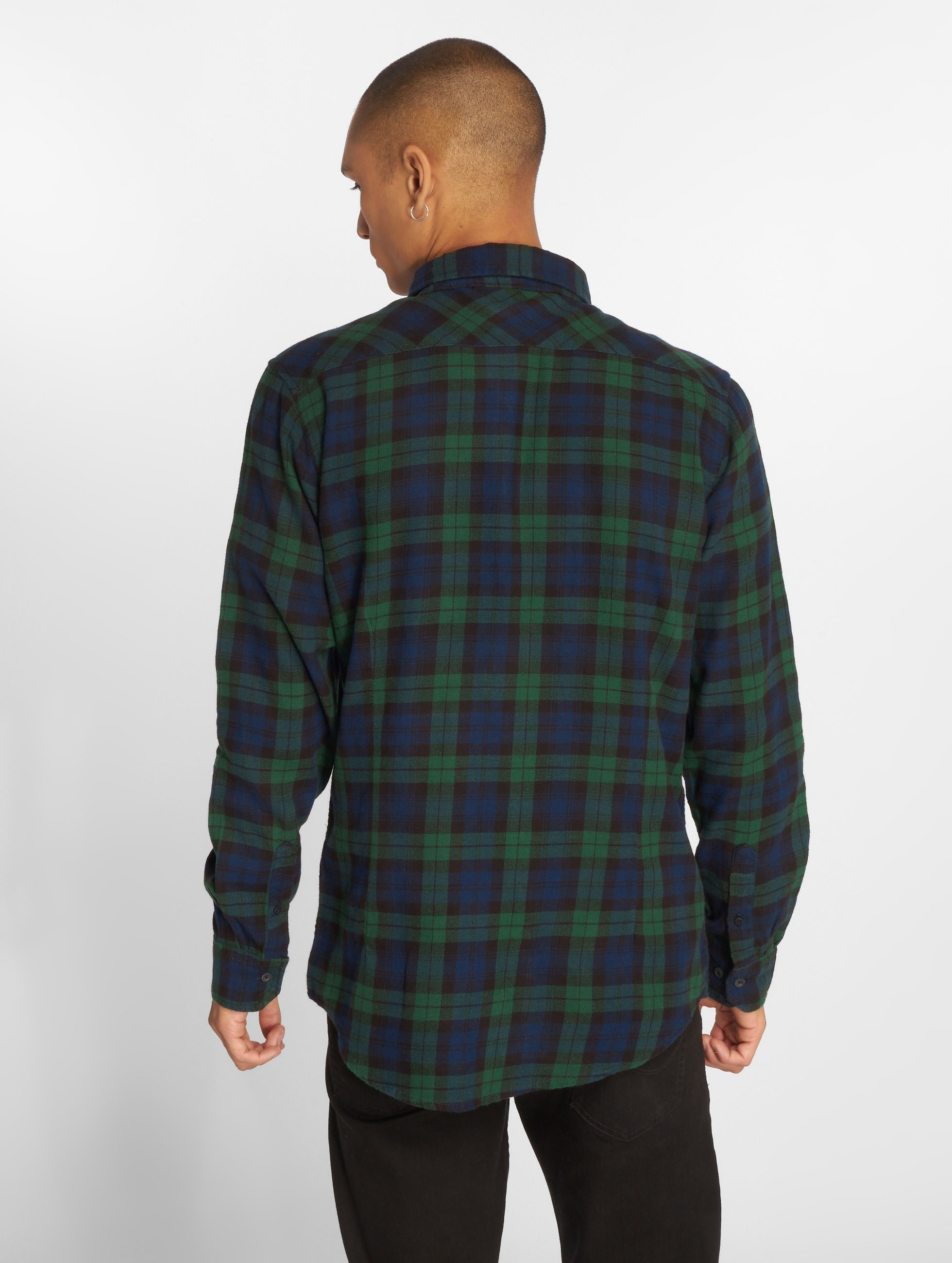 Urban Classics Рубашка Checked Flanell 3 синий