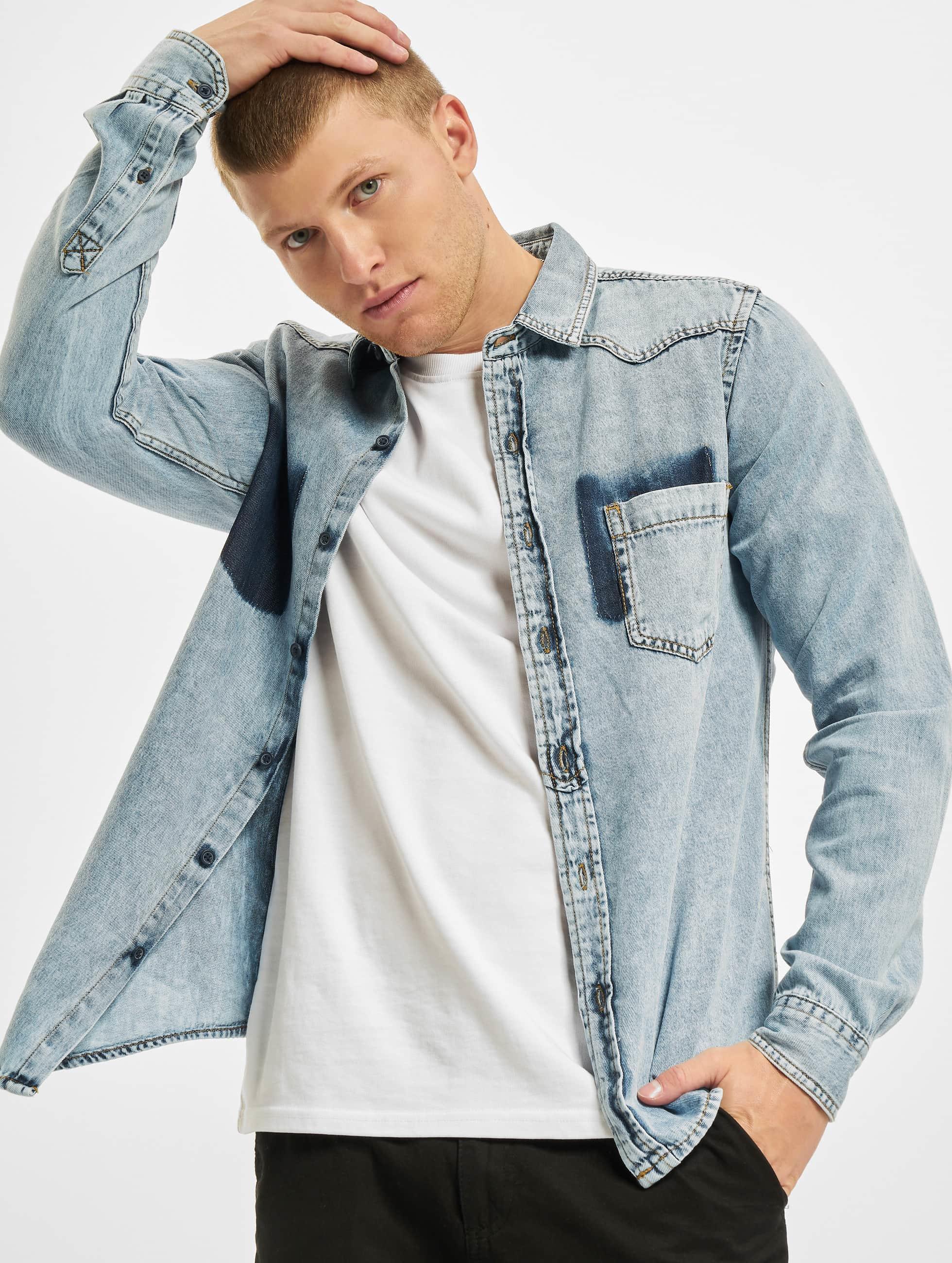 Urban Classics Рубашка Denim Pocket синий