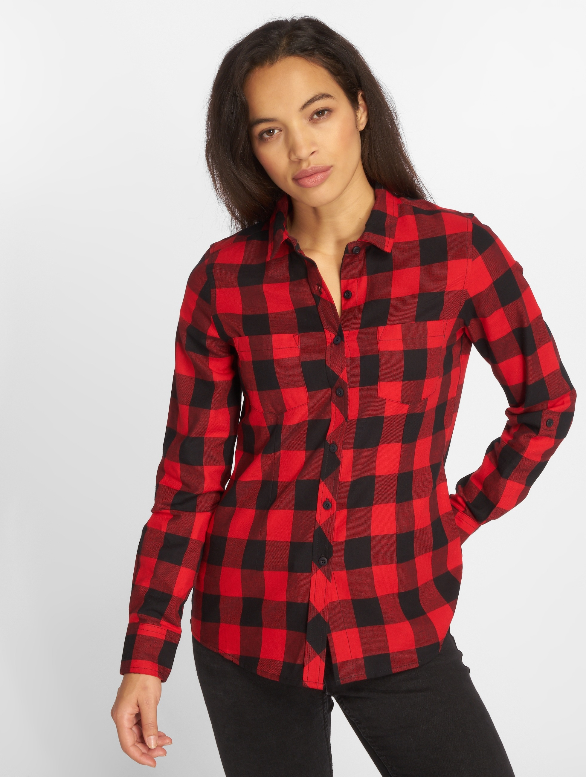 Urban Classics Blouse & Chemise Ladies Turnup Checked Flanell rouge