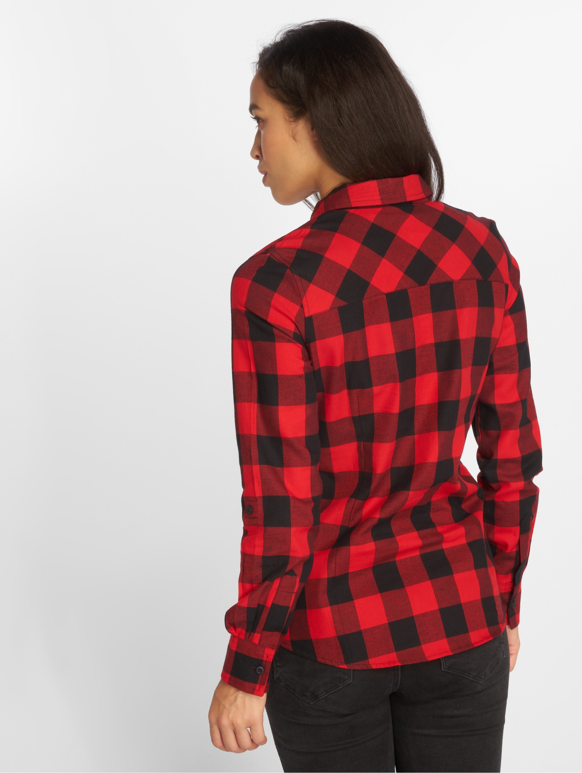 Urban Classics Blouse Ladies Turnup Checked Flanell rood