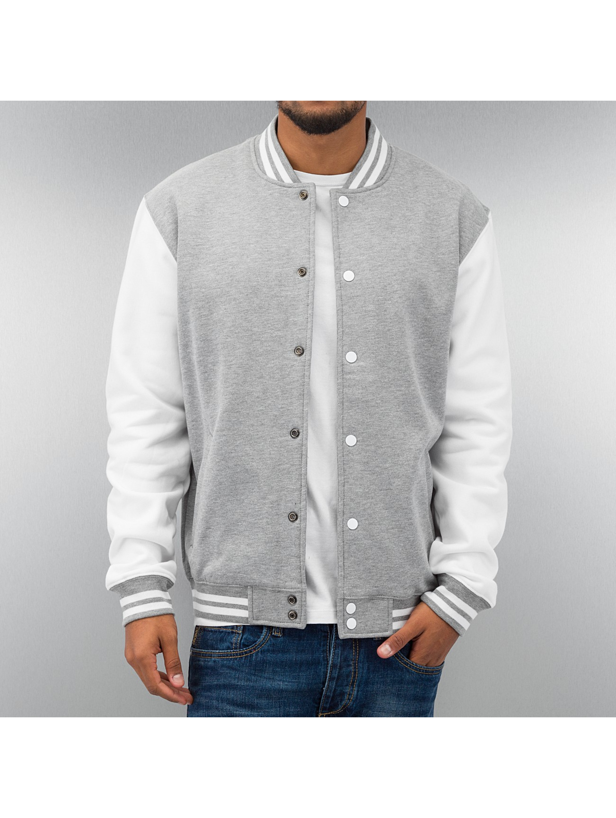 Urban Classics Veste/Blouson / Blouson Teddy 2-Tone College Sweatjacket en gris