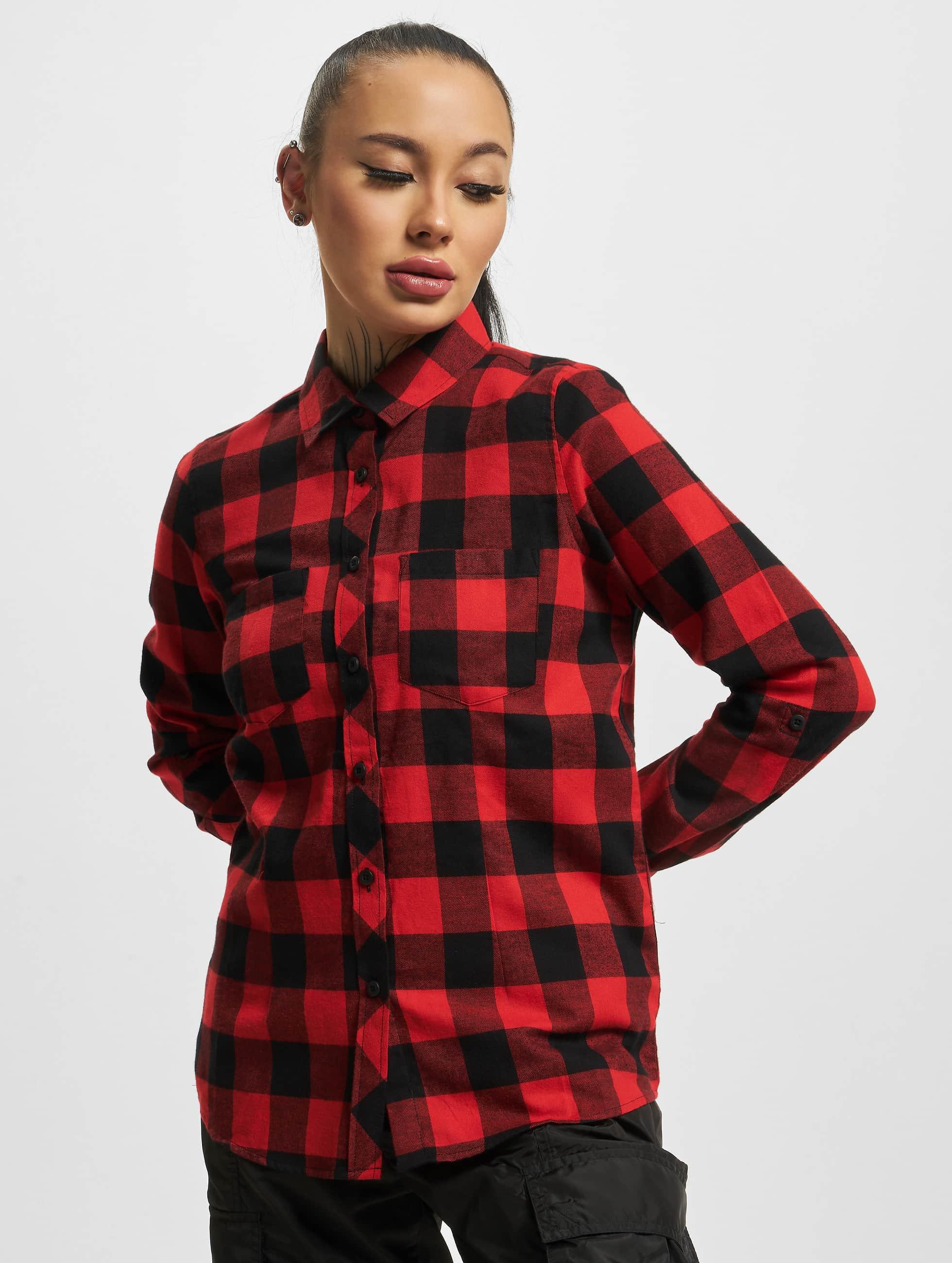 Urban Classics Blus/Tunika Ladies Turnup Checked Flanell röd