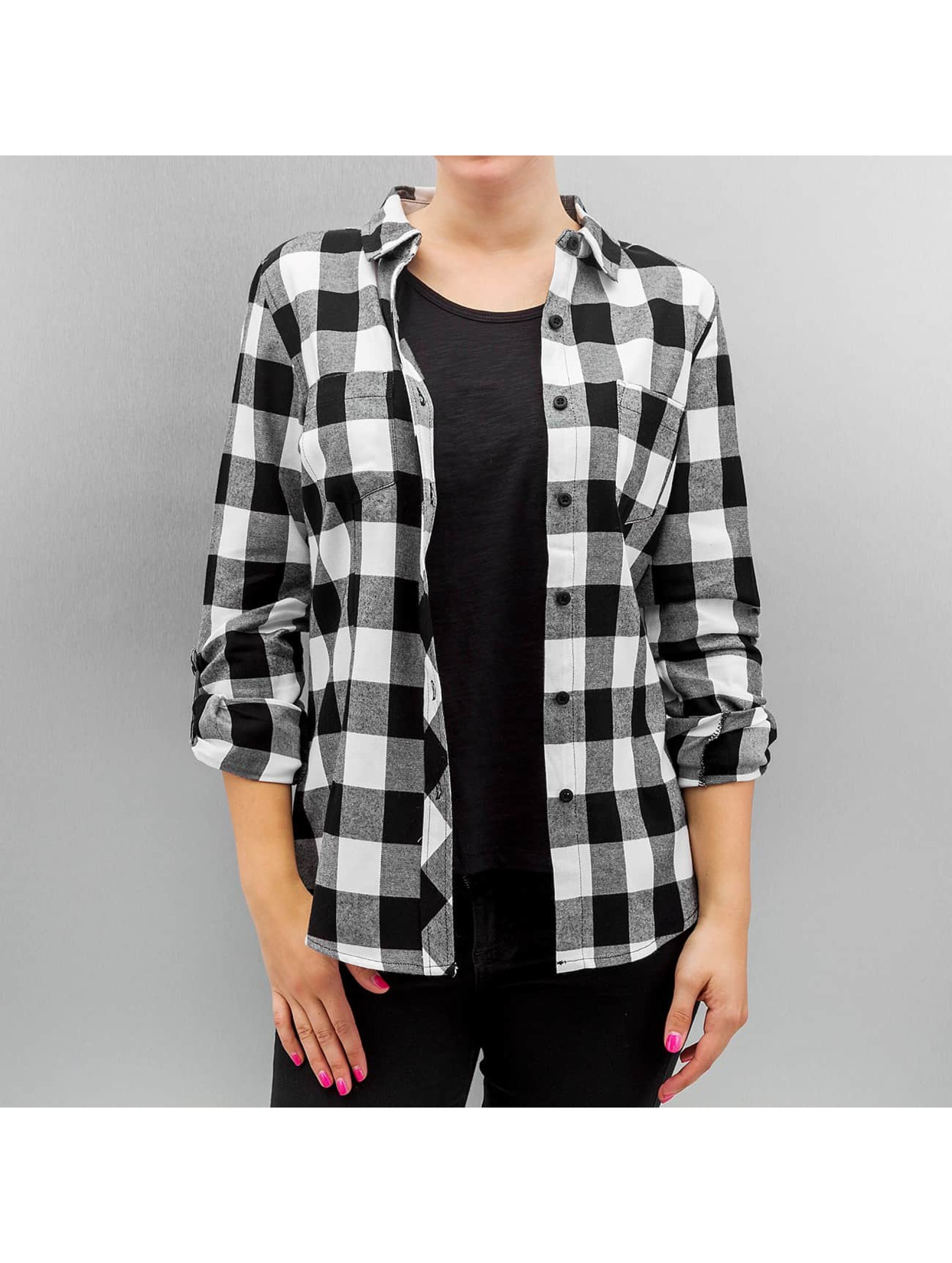 Bluse Ladies Turnup Checked Flanell in schwarz