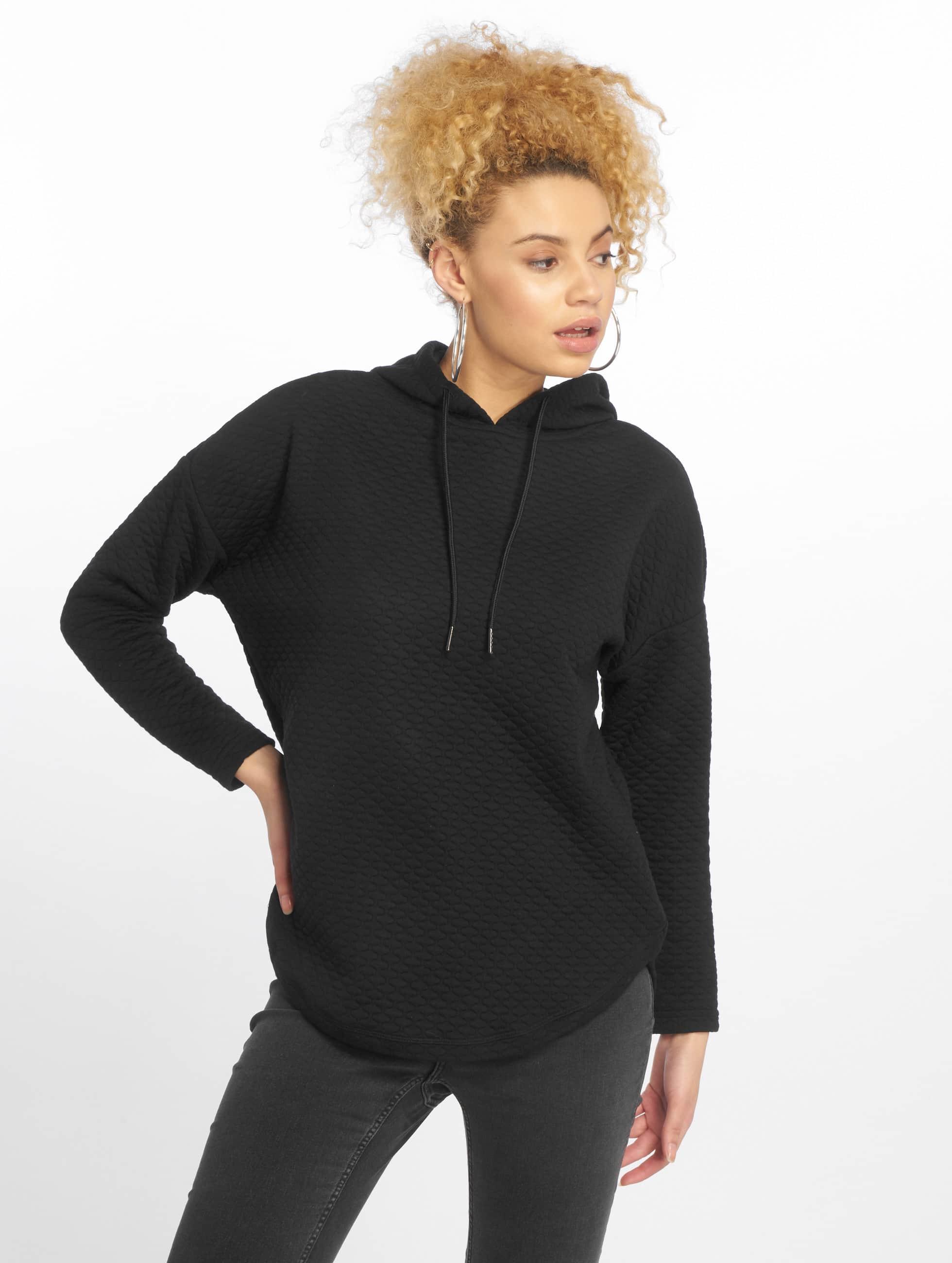 Urban Classics Bluzy z kapturem Quilt Oversize czarny