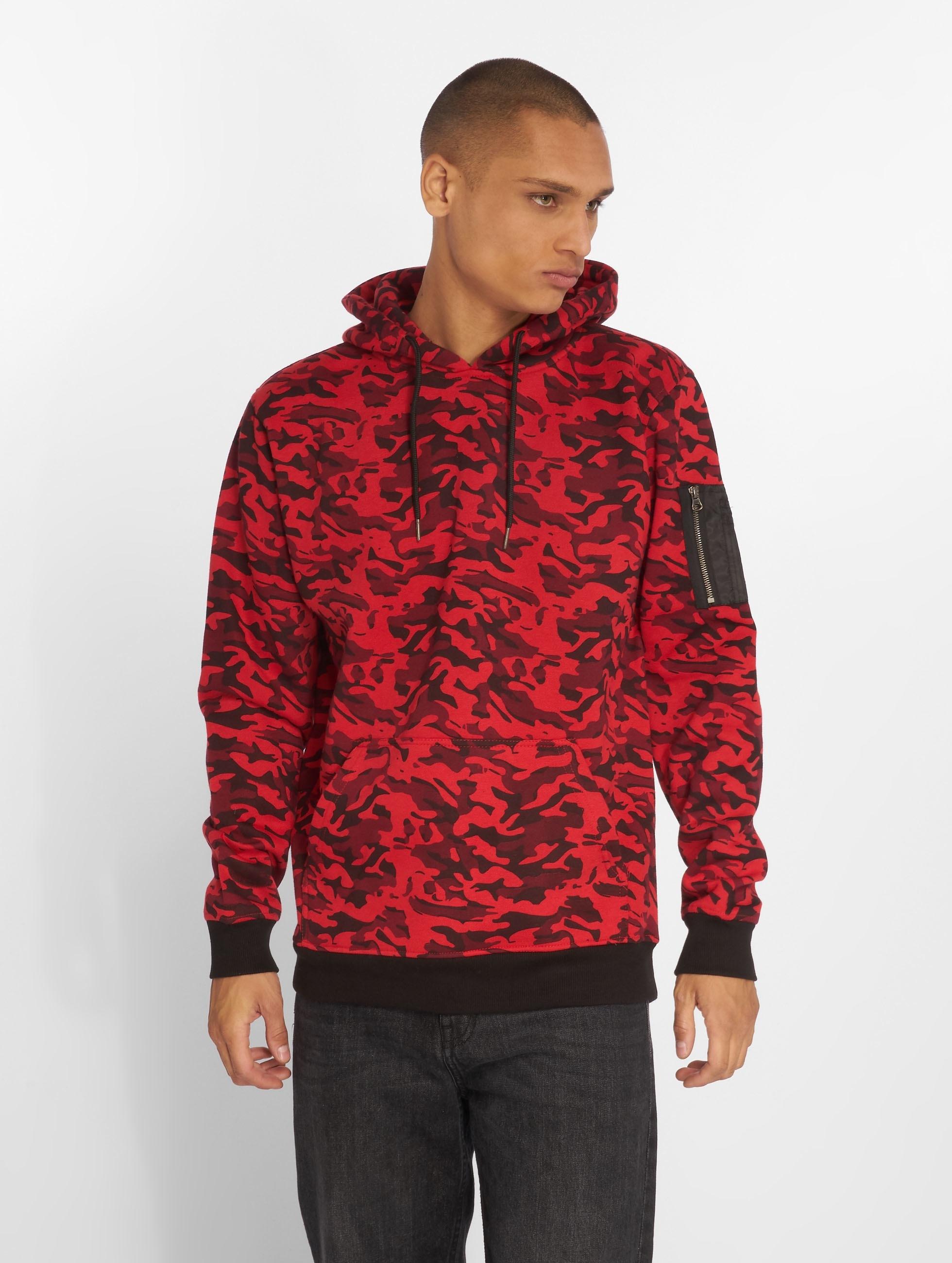 Urban Classics Bluzy z kapturem Sweat Camo Bomber czerwony