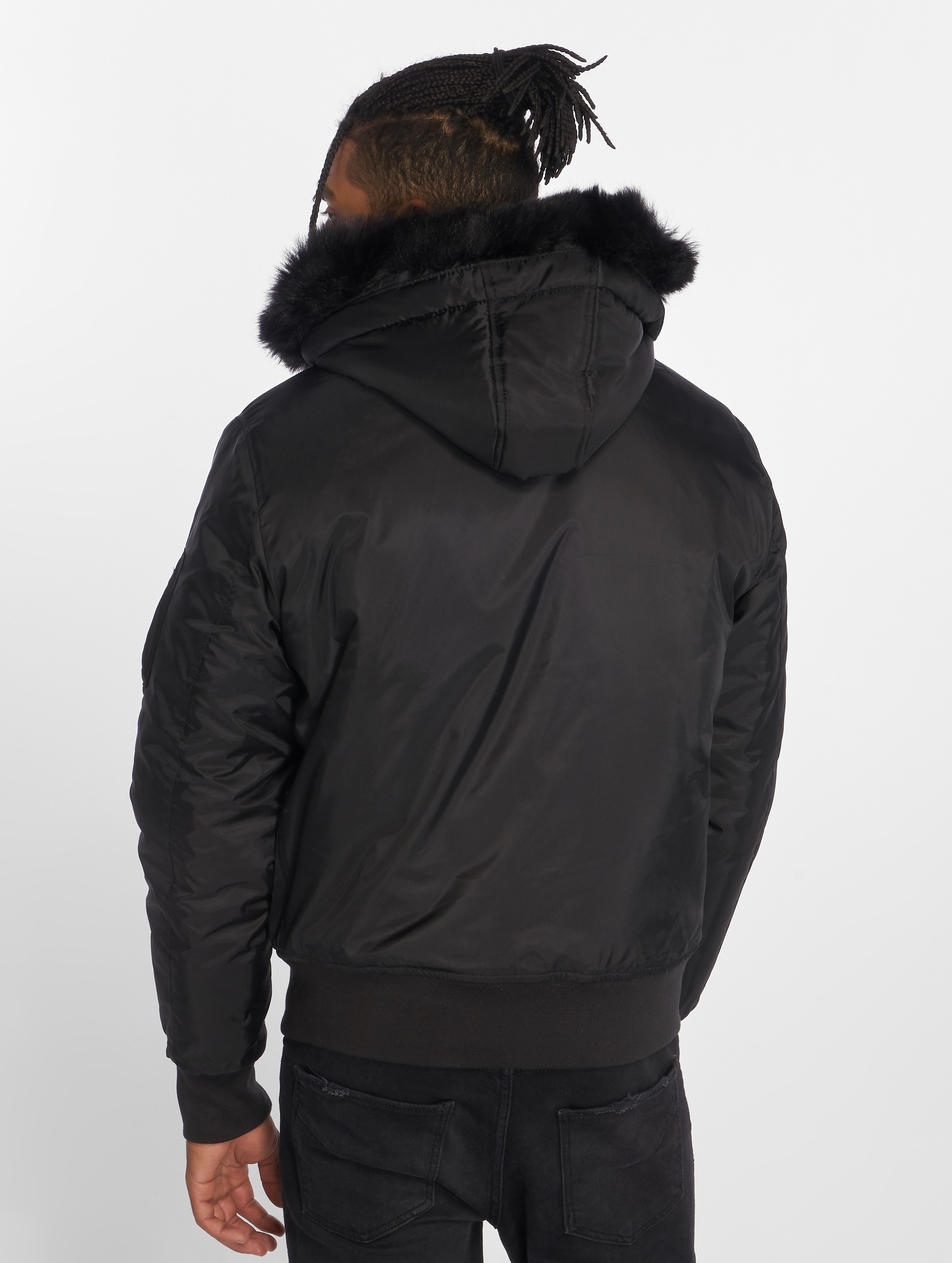 Urban Classics Bomberjack Hooded Basic zwart