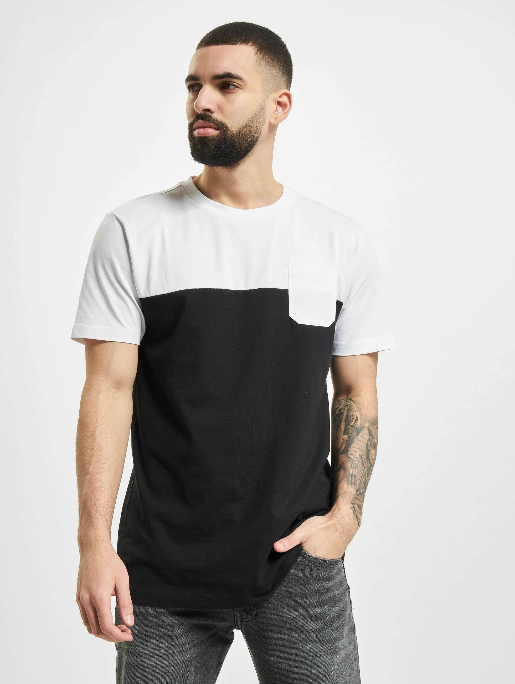 Urban Classics Camiseta Color Block Summer Pocket negro