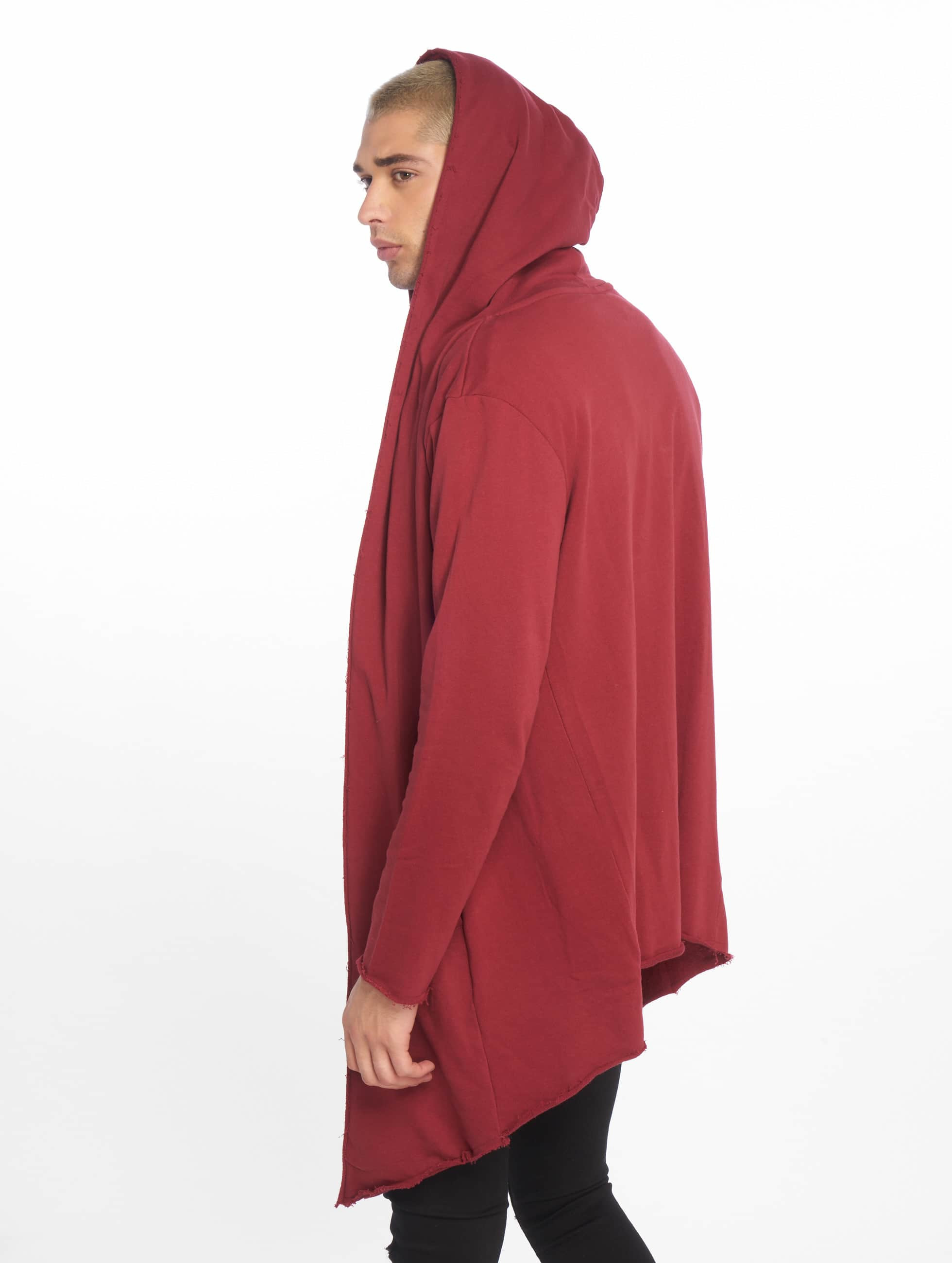 Urban Classics Cardigan Long Hooded Open Edge röd