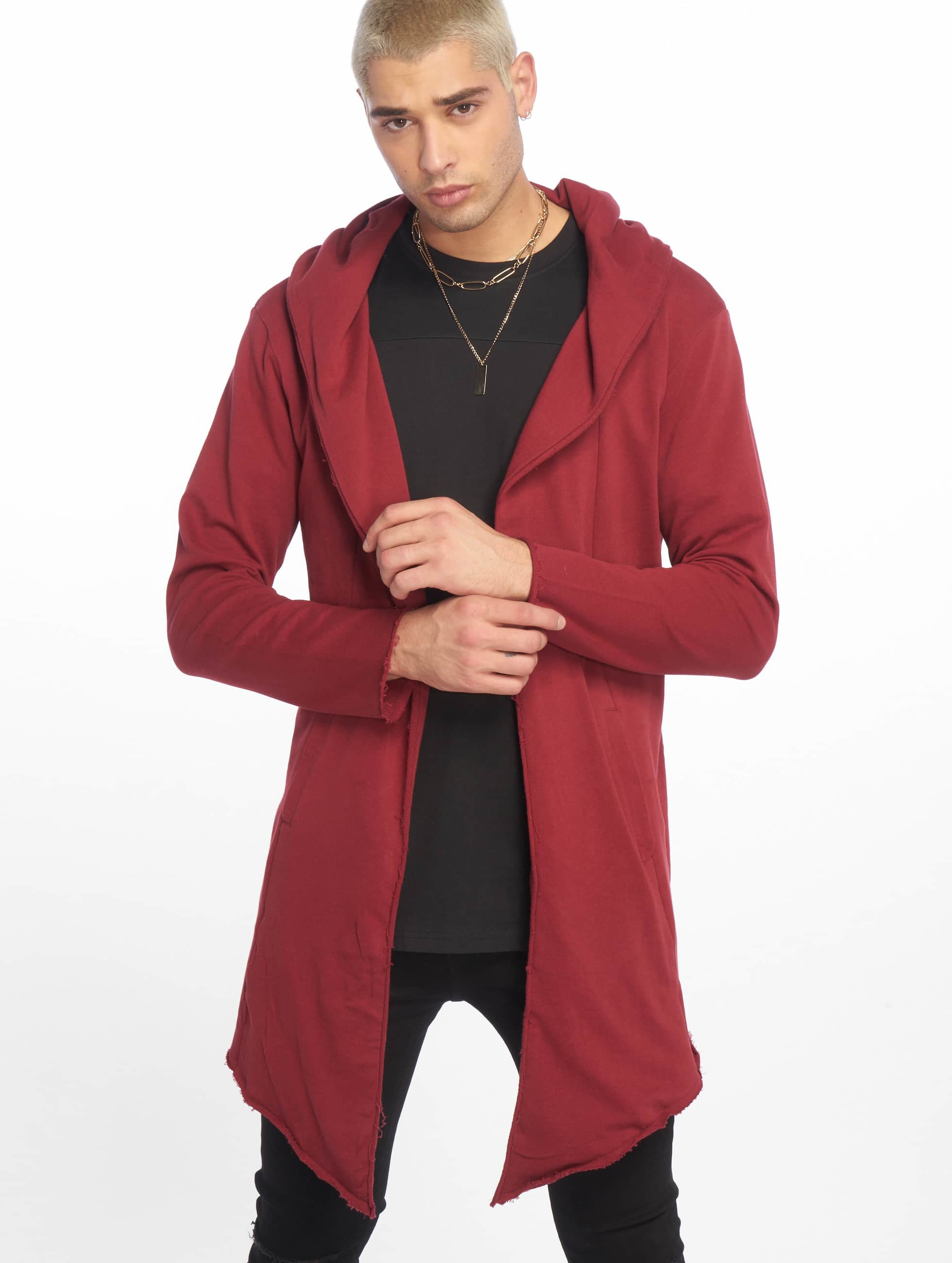Urban Classics Cardigan Long Hooded Open Edge rouge