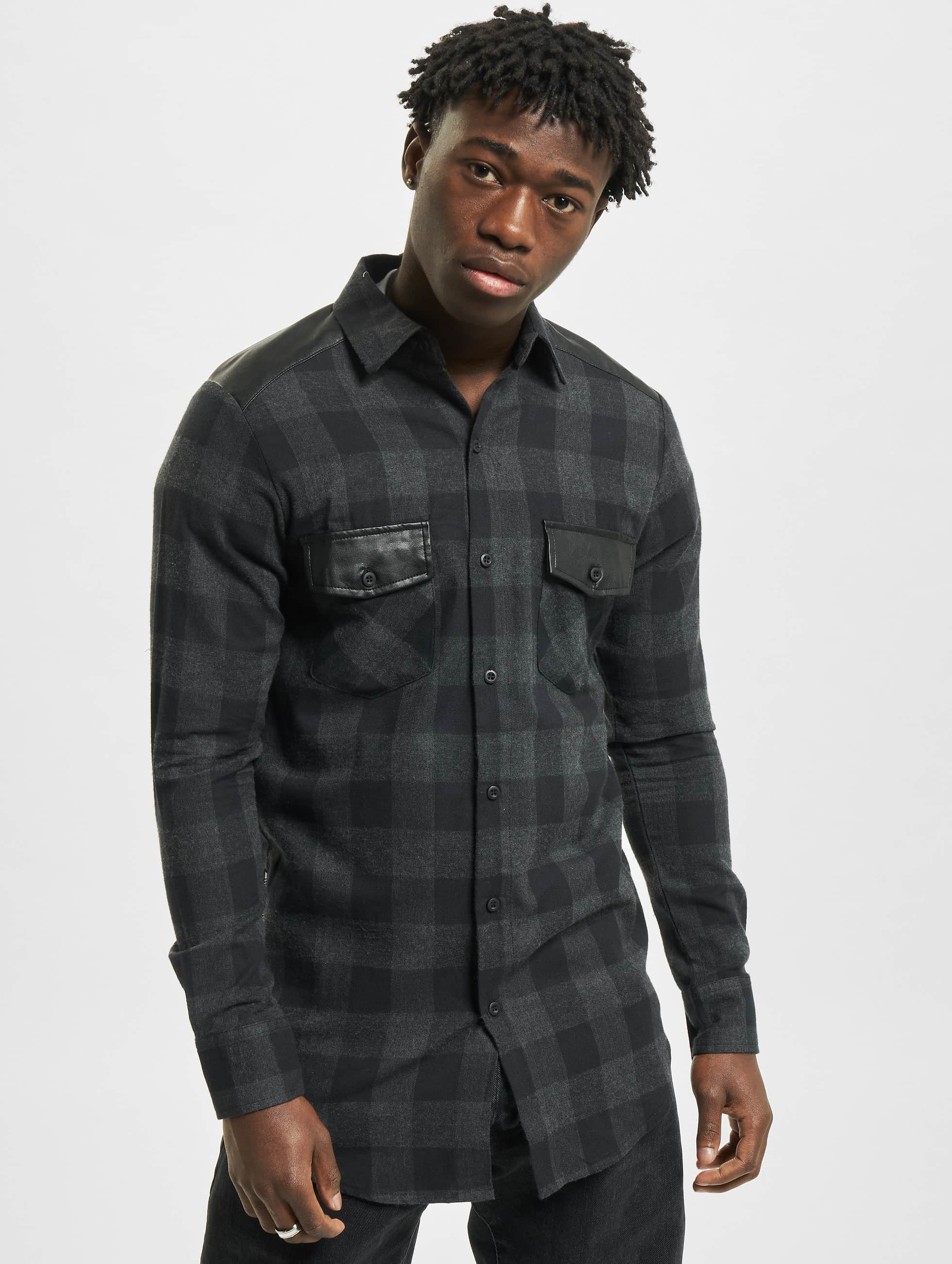 Urban Classics Chemise Side Zip Leather Shoulder Flanell noir