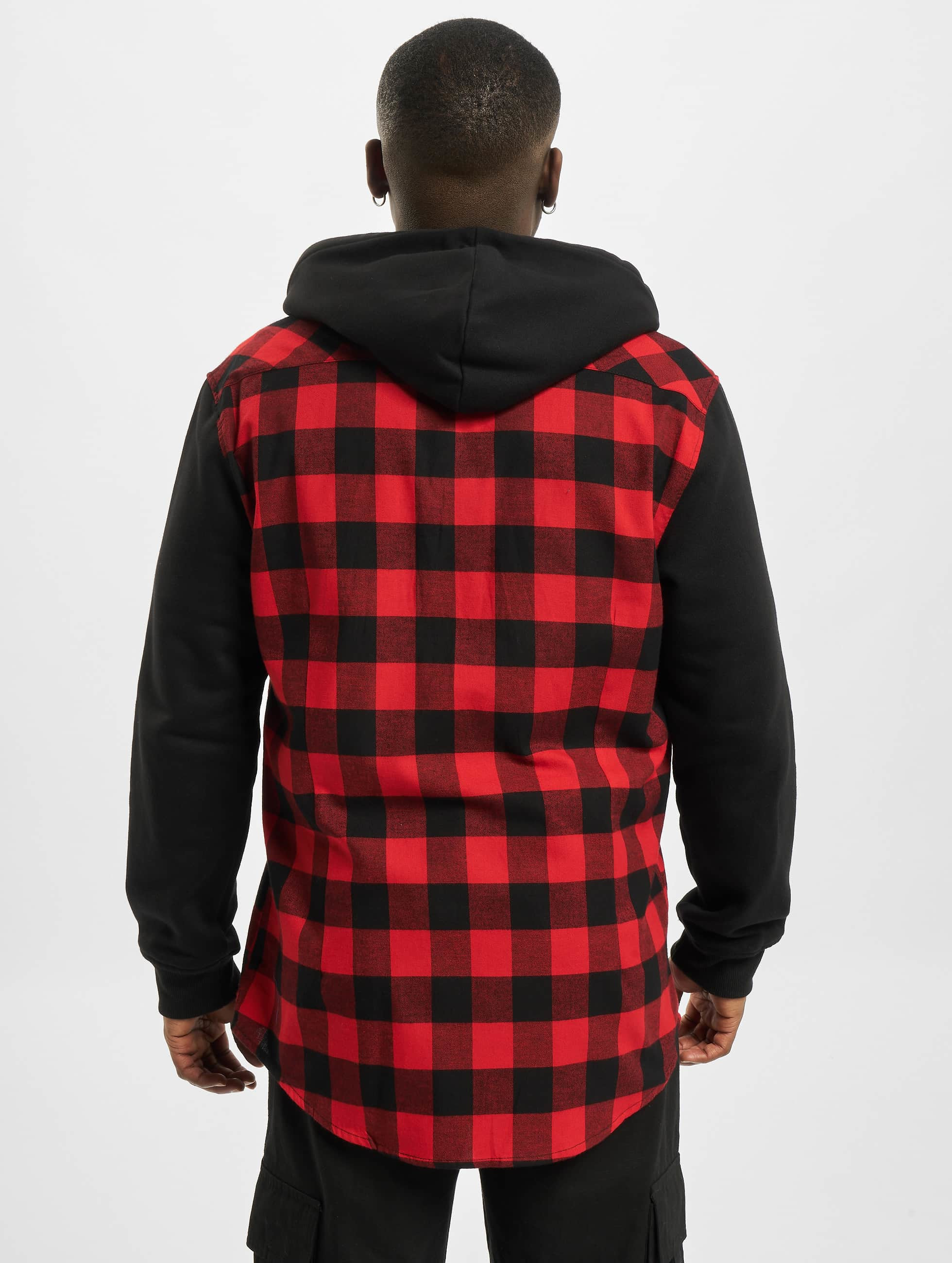 Urban Classics Hemd Hooded Checked Flanell Sweat Sleeve rot