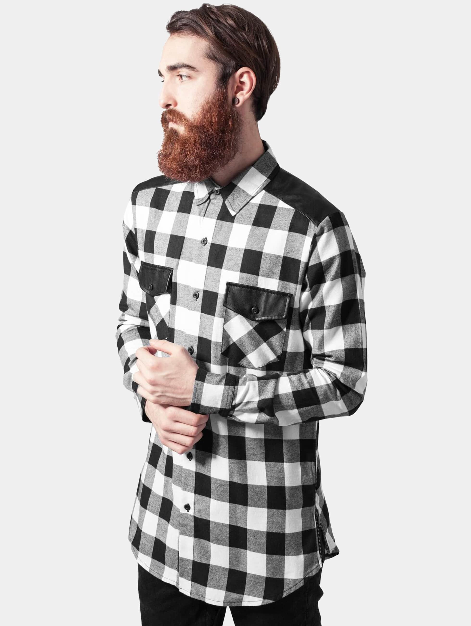 Hemd Side Zip Leather Shoulder Flanell in schwarz