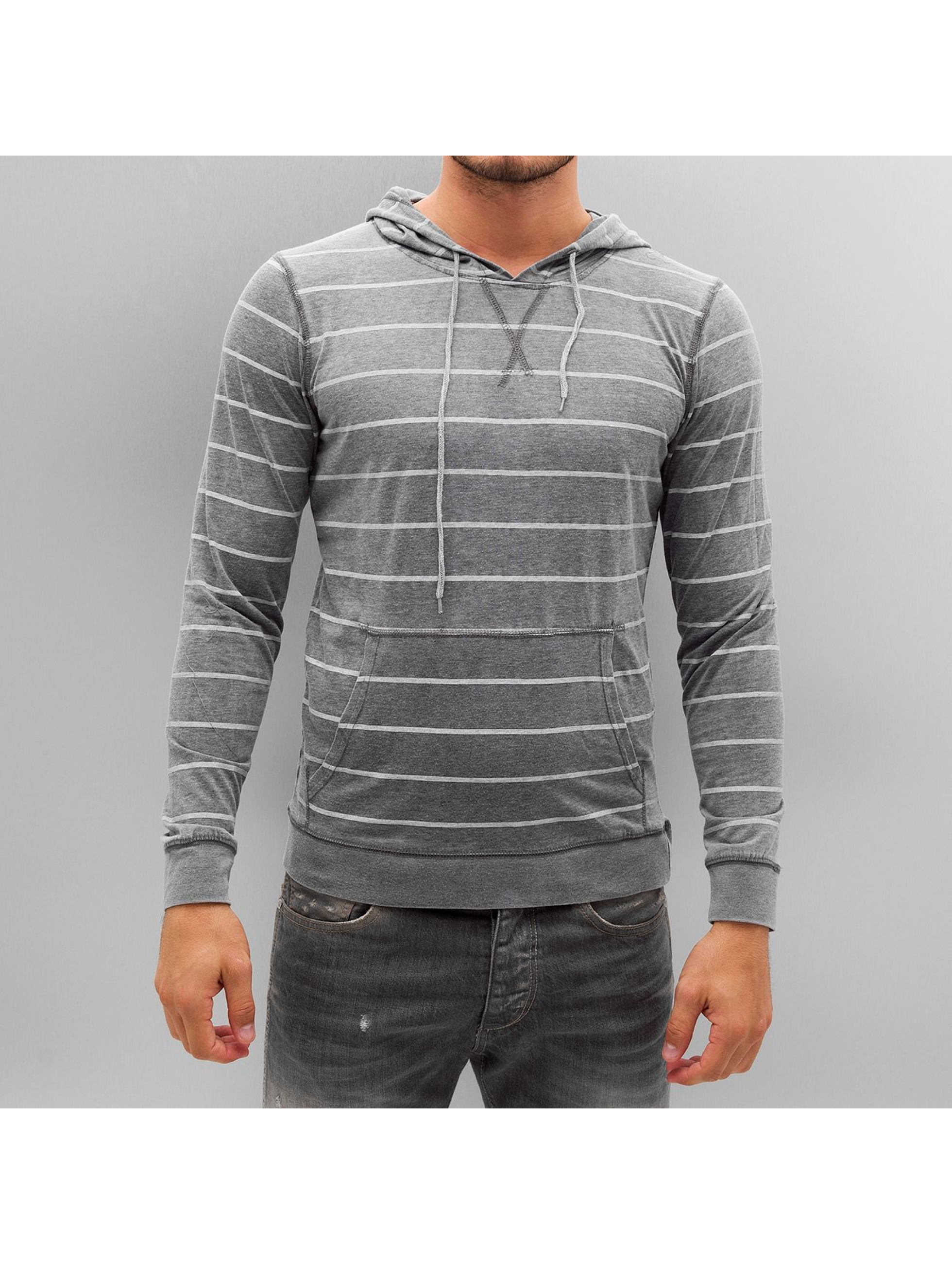Urban Classics Hoody Striped Burnout grau