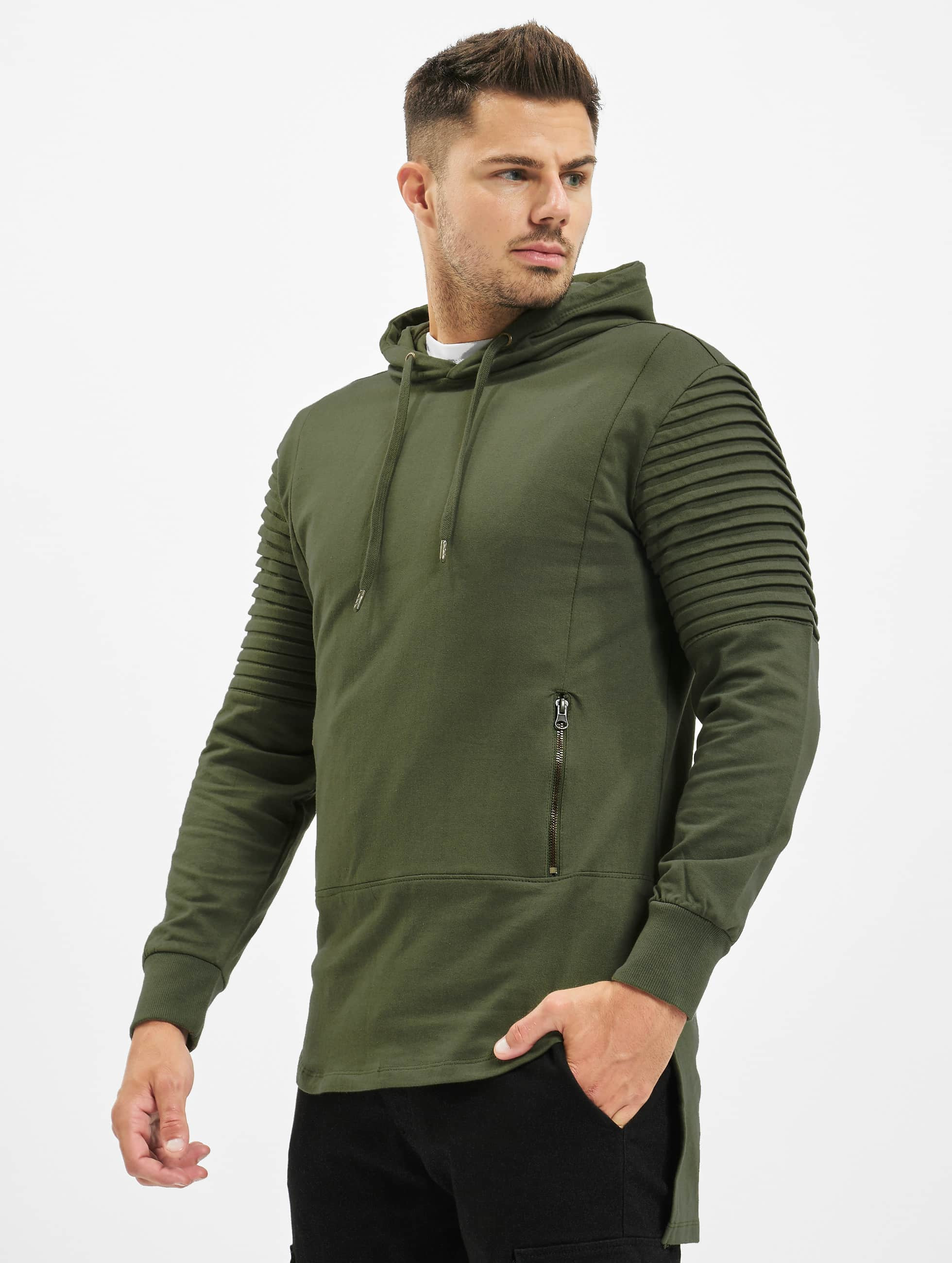 Urban Classics Hoody Pleat Sleeves Terry HiLo olijfgroen