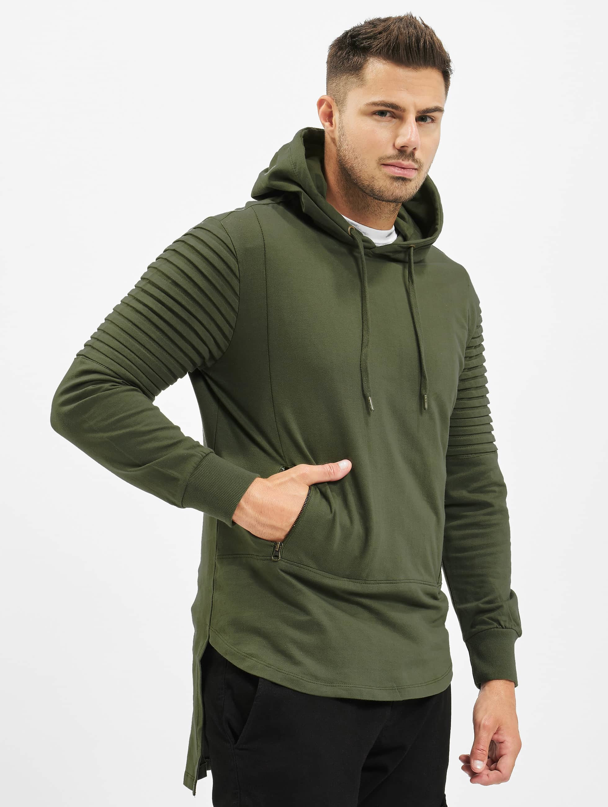Urban Classics Hoody Pleat Sleeves Terry HiLo olive