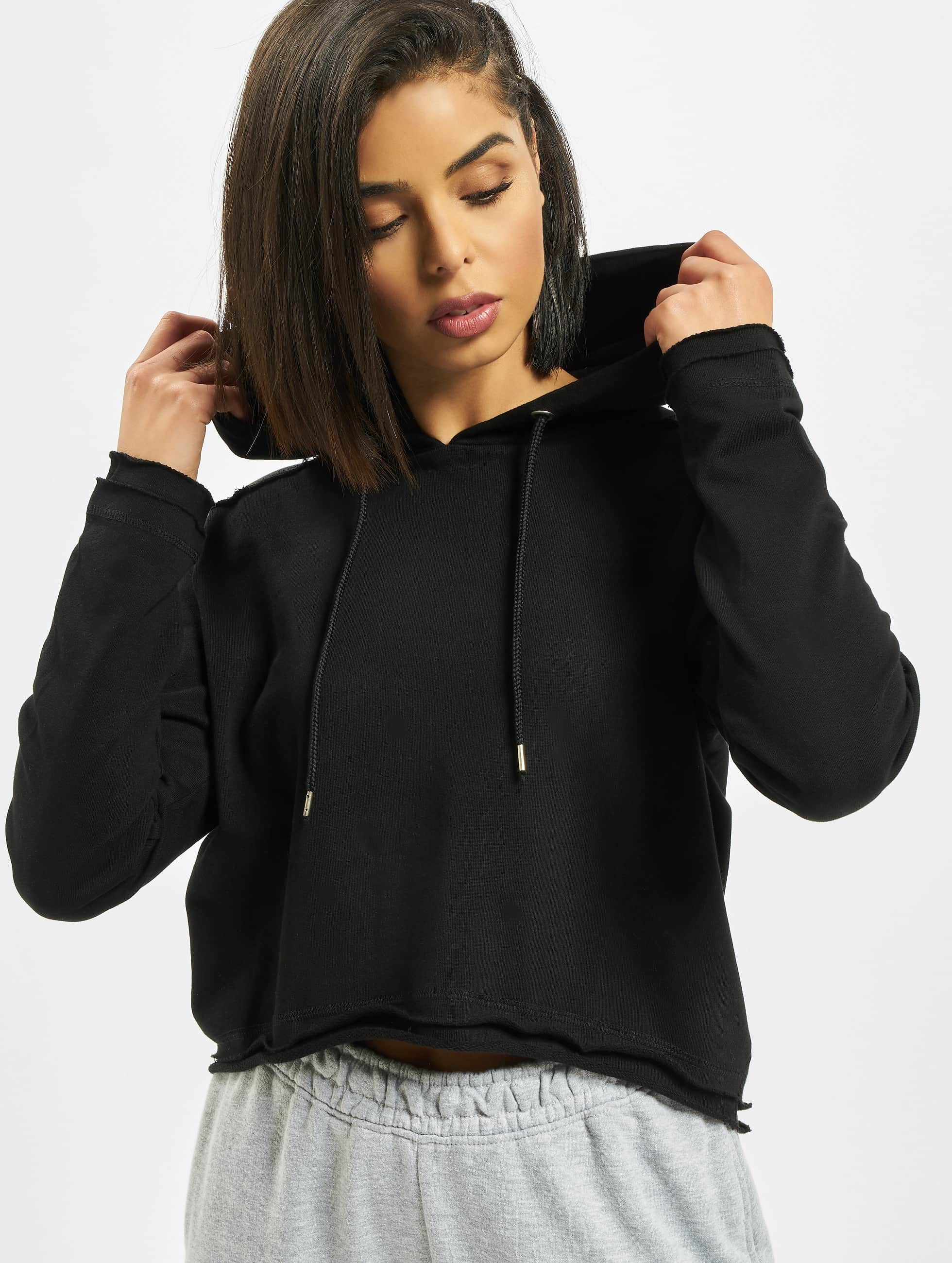 Hoody Cropped Terry in schwarz