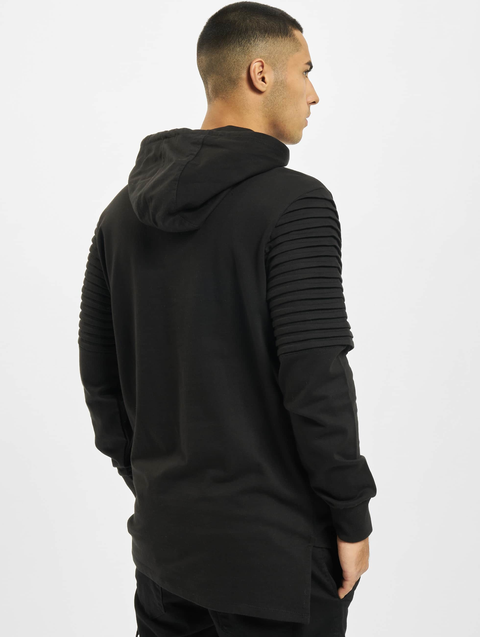 Urban Classics Hoody Pleat Sleeves Terry HiLo zwart