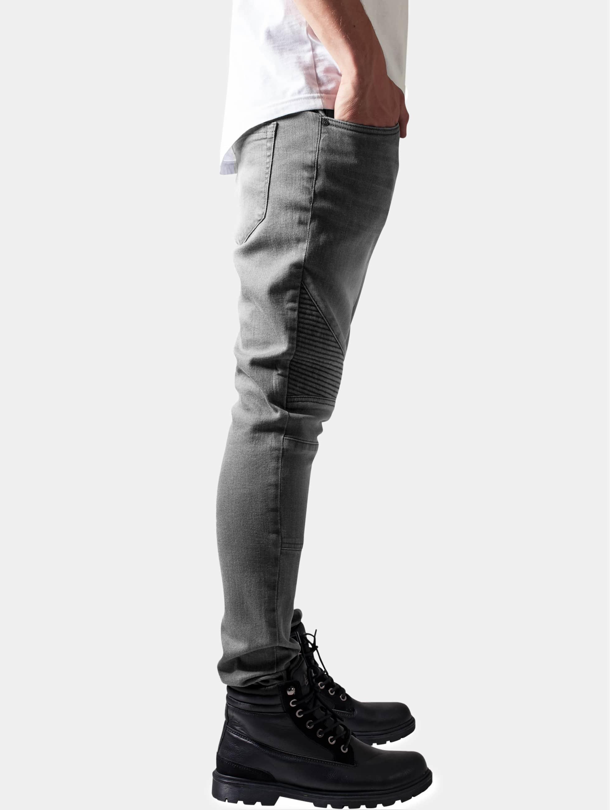 Urban Classics Jean skinny Slim Fit Biker gris