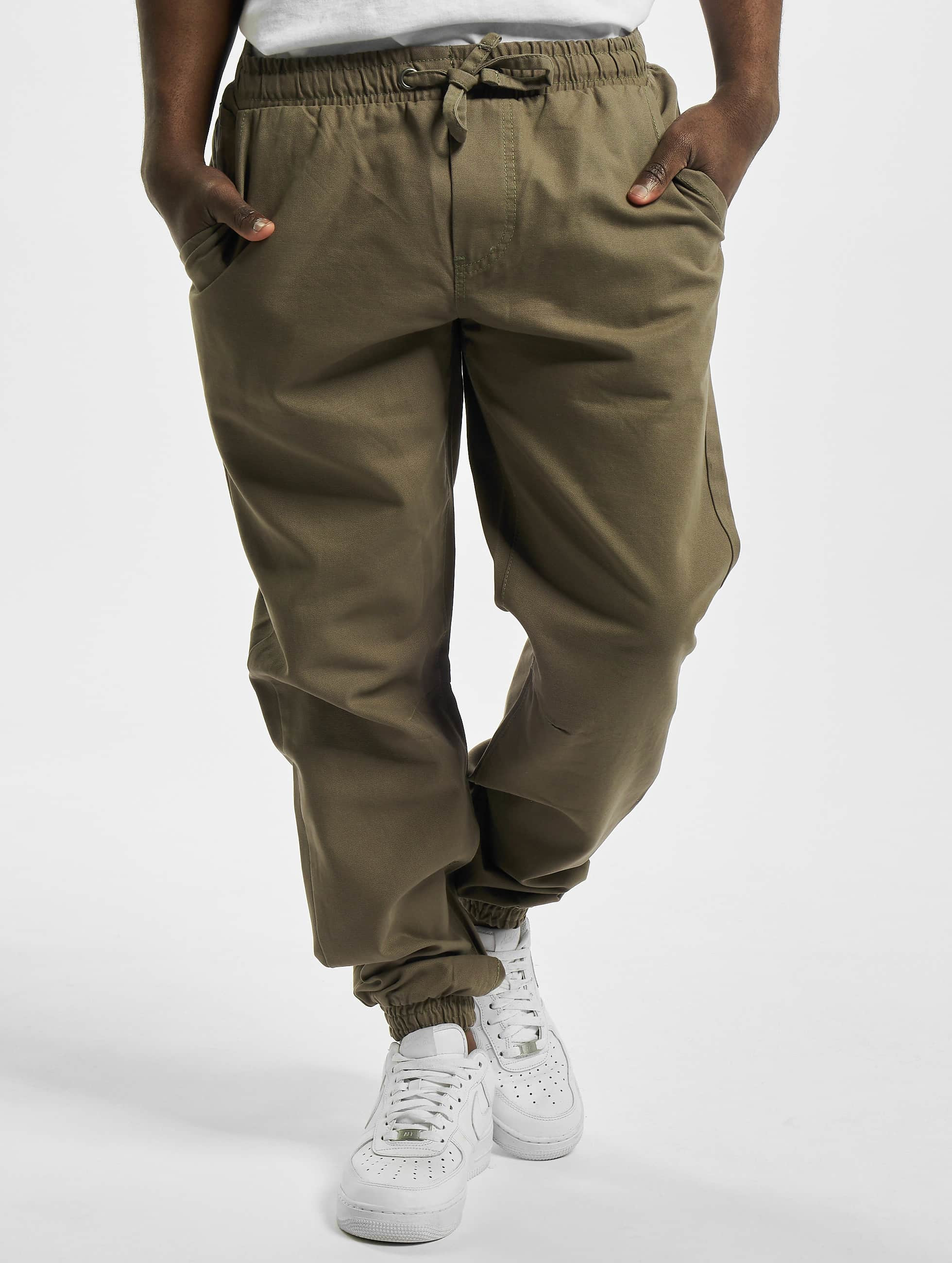 Urban Classics Joggebukser Washed Canvas oliven