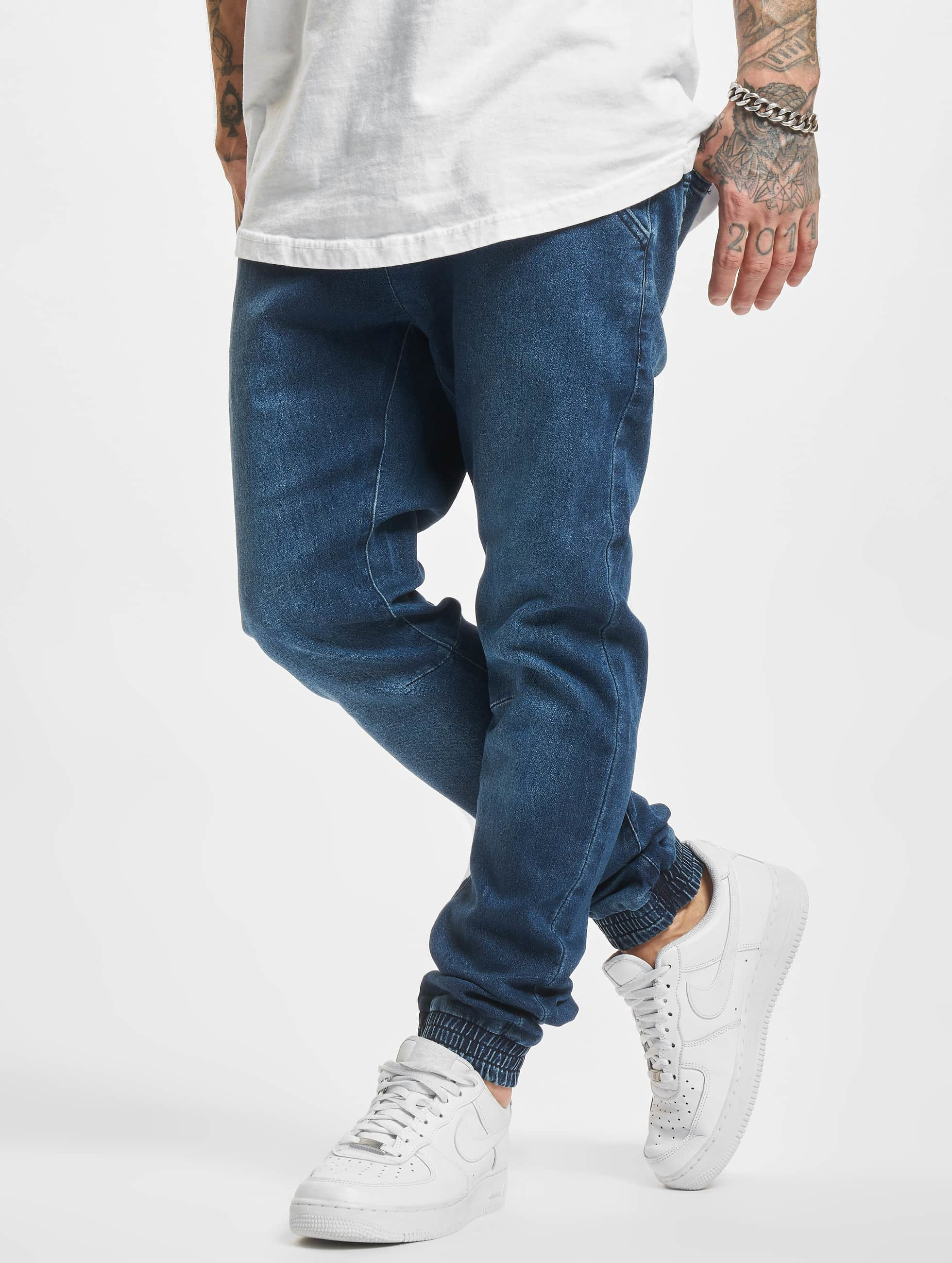 Urban Classics joggingbroek Knitted Denim blauw