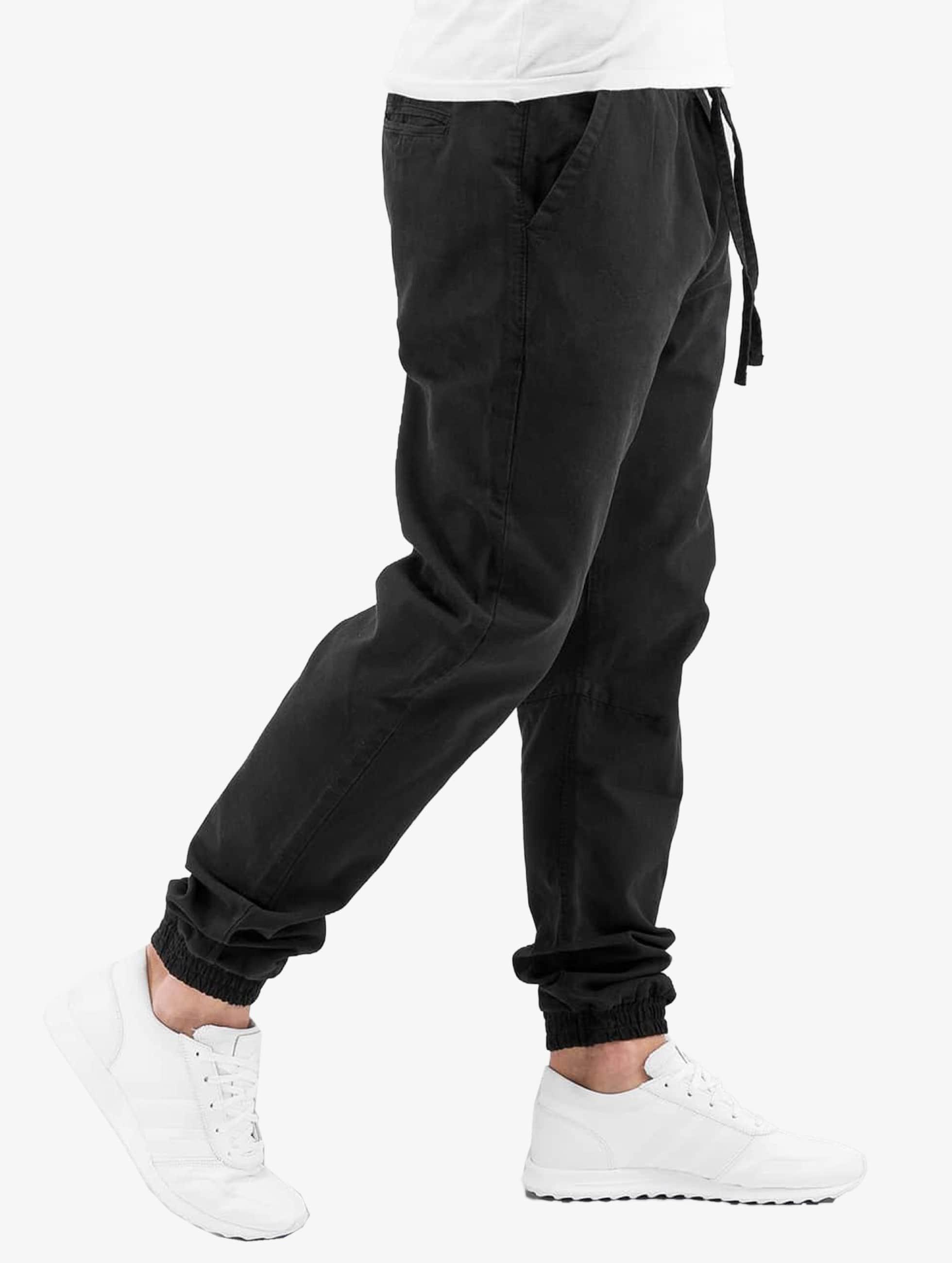 Urban Classics joggingbroek Washed Canvas zwart